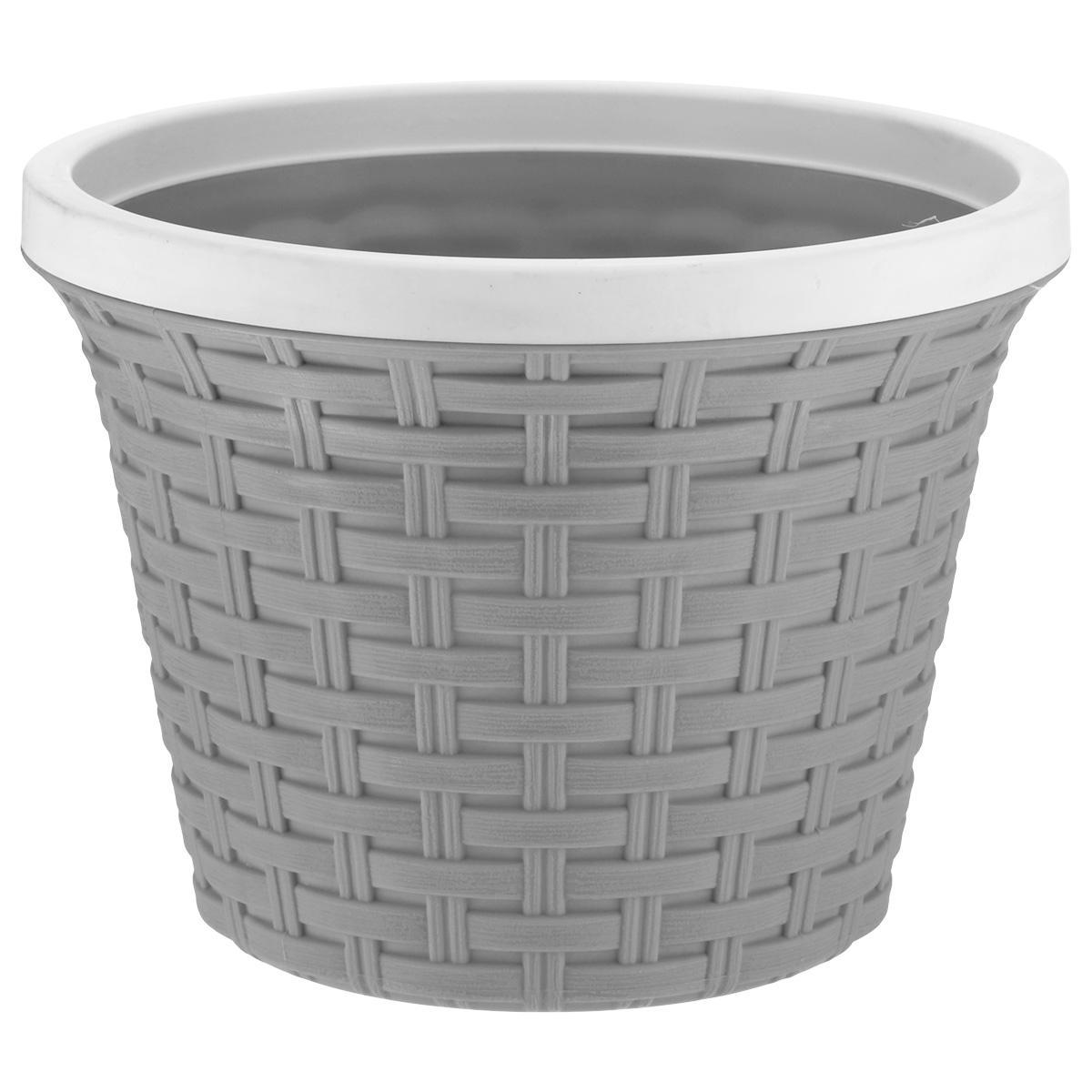 Кашпо круглое Violet Ротанг, с дренажной системой, цвет: серый, 3,4 л32340/8Круглое кашпо Violet Ротанг изготовлено из высококачественного пластика и оснащено дренажной системой для быстрого отведения избытка воды при поливе. Изделие прекрасно подходит для выращивания растений и цветов в домашних условиях. Лаконичный дизайн впишется в интерьер любого помещения. Объем: 3,4 л.
