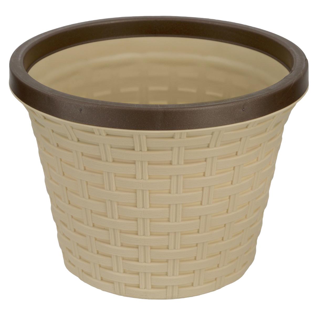 Кашпо Violet Ротанг, с дренажной системой, цвет: бежевый, 6,5 л32650/2Кашпо Violet Ротанг изготовлено из высококачественного пластика и оснащено дренажной системой для быстрого отведения избытка воды при поливе. Изделие прекрасно подходит для выращивания растений и цветов в домашних условиях. Лаконичный дизайн впишется в интерьер любого помещения. Объем: 6,5 л.