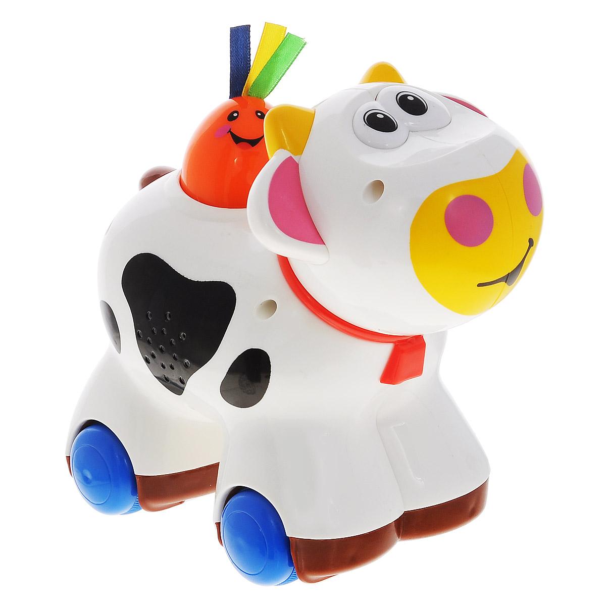 Kiddieland Игрушка-каталка Коровка Му-МуKID 045864Яркая игрушка-каталка Kiddieland Коровка Му-Му со звуковыми эффектами обязательно понравится малышу. Смешная и яркая игрушка-каталка развлечет малыша приятными мелодиями. При нажатии оранжевого персонажа на спине коровки игрушка едет сама, при этом звучат веселые мелодии и мычание. Также нажатием этого персонажа переключается звук. Голова игрушки поворачивается, при этом раздается забавный треск. Игрушка способствует развитию, мелкой моторики, цветовосприятия, воображения и творческого мышления. Рекомендуемый возраст: от 12 месяцев. Питание: 2 батарейки типа АА (входят в комплект).