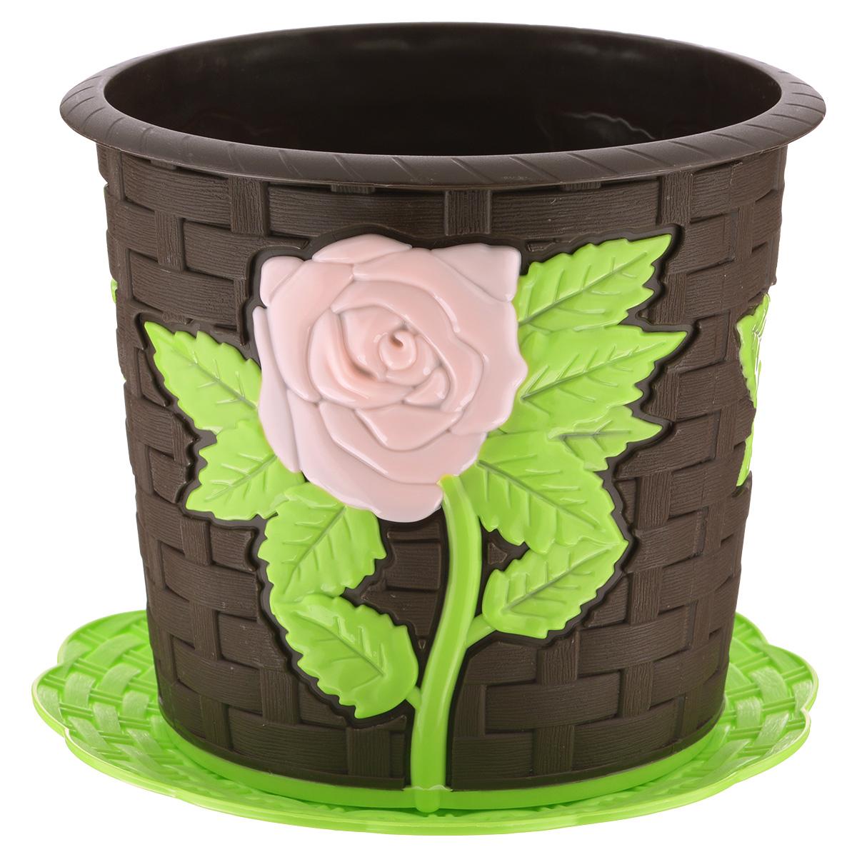 Кашпо Альтернатива Анжелика, с подставкой, цвет: темно-коричневый, салатовый, 3 лМ3491Кашпо Альтернатива Анжелика изготовлено из прочного пластика с эффектом плетения и украшено красочным рельефом в виде роз. Для кашпо предусмотрена круглая подставка. Изделие предназначено для выращивания растений и цветов в домашних условиях. Такое кашпо порадует вас изысканным дизайном и функциональностью, а также оригинально украсит интерьер помещения. Диаметр кашпо по верхнему краю: 19 см. Высота кашпо: 16,5 см. Диаметр подставки: 20,5 см. Объем кашпо: 3 л.