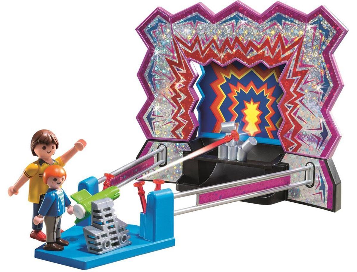 Playmobil Игровой набор Аттракцион: Сбей банки5547Игровой набор Playmobil Аттракцион: Сбей банки позволит ребенку сыграть в веселую игру на меткость. В комплект входят: 2 фигурки, аттракцион и снаряды для игры. Элементы набора выполнены из прочного пластика ярких цветов и легко соединяются между собой. Руки и головы фигурок подвижны, а благодаря специальной форме ручек, они могут держать различные небольшие предметы, входящие в набор. Проверьте свою меткость в игре на сбивание банок. Главное - занять правильную позицию и хорошо прицелиться. Игры с таким набором позволят ребенку весело провести время. А процесс сборки игрушки поможет развить мелкую моторику пальчиков, внимательность и усидчивость. Порадуйте своего малыша такой чудесной игрушкой!
