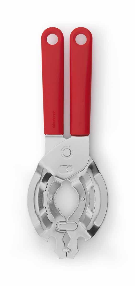 Открывалка универсальная Brabantia, цвет: красный106583Универсальная открывалка Brabantia имеет оптимальный регулируемый размер и позволяет открывать банки с навинчивающейся крышкой диаметром от 10 до 100 мм. Ручки изготовлены из прочного пластика, рабочая часть - из нержавеющей стали. На рукоятках имеются петельки для подвешивания. Изделие легко моется - можно мыть в посудомоечной машине. Добавьте цвета и настроения в интерьер своей кухни с коллекцией кухонных принадлежностей от Brabantia Tasty Tools в палитре аппетитных оттенков. Размер рабочей поверхности: 8,5 см х 13 см.