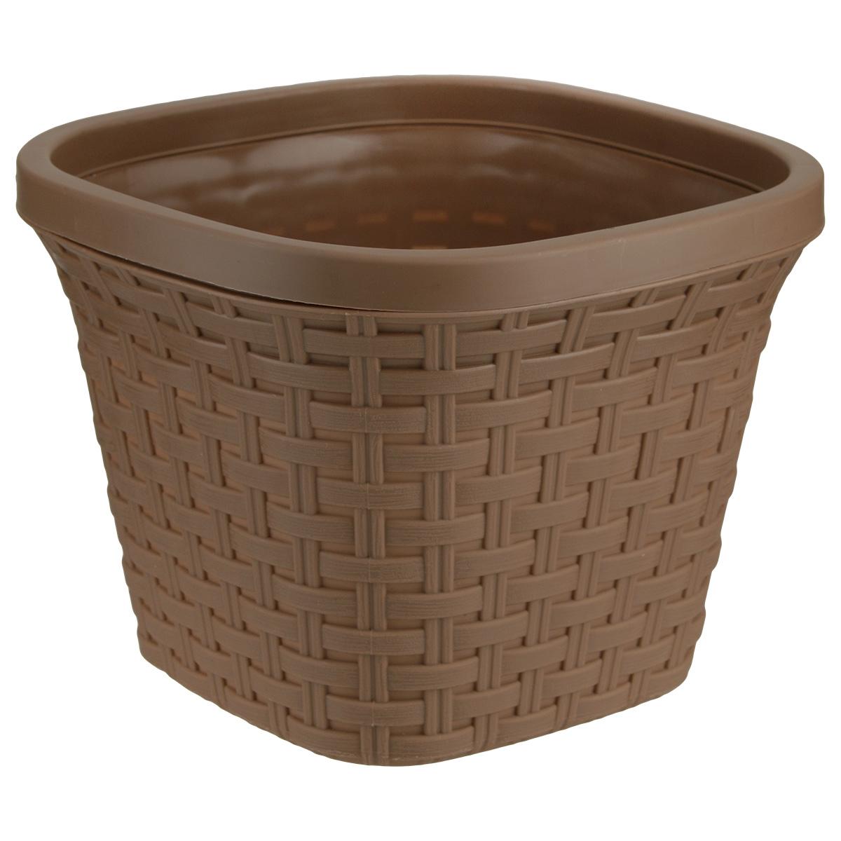 Кашпо Violet Ротанг, с дренажной системой, цвет: какао, 5 л33500/17Кашпо Violet Ротанг изготовлено из высококачественного пластика и оснащено дренажной системой для быстрого отведения избытка воды при поливе. Изделие прекрасно подходит для выращивания растений и цветов в домашних условиях. Лаконичный дизайн впишется в интерьер любого помещения. Объем: 5 л.