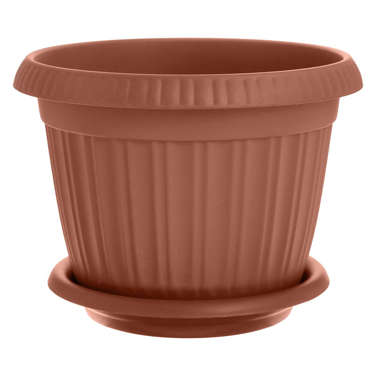 Горшок для цветов InGreen Таити, с подставкой, цвет: коричневый, диаметр 23 смПЦ41023Горшок InGreen Таити выполнен из высококачественного полипропилена (пластика) и предназначен для выращивания цветов, растений и трав. Снабжен подставкой для стока воды. Такой горшок порадует вас функциональностью, а благодаря лаконичному дизайну впишется в любой интерьер помещения. Диаметр горшка по верхнему краю: 23 см. Высота горшка: 17,5 см. Диаметр подставки: 19 см.