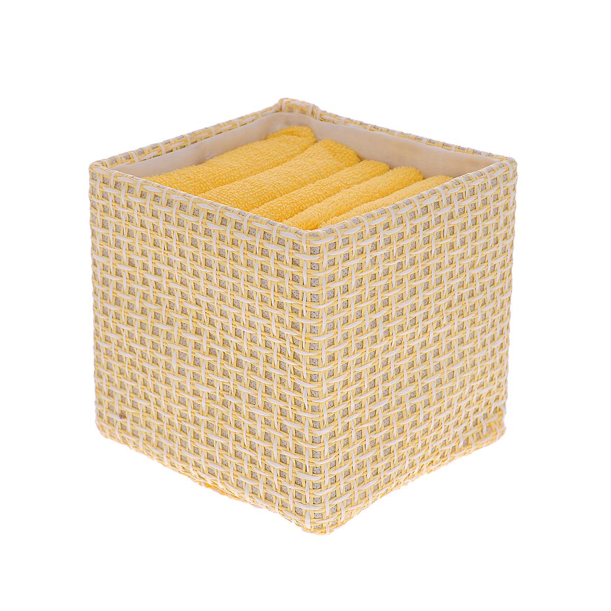 Набор полотенец Miolla, в корзине, цвет: желтый, 30 х 30 см, 6 штBTS1301CНабор Miolla состоит из шести квадратных полотенец, выполненных из хлопка. Полотенца мягкие, приятные на ощупь, хорошо впитывают влагу. Для хранения полотенец предусмотрена специальная плетеная корзинка. Такой набор станет хорошим подарком для хозяйки и пригодится в быту.