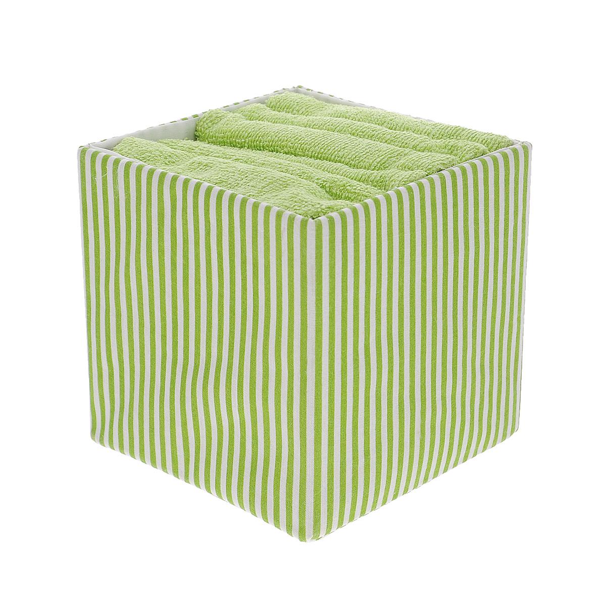 Набор полотенец Miolla Линии, в корзине, цвет: салатовый, 30 см х 30 см, 6 штBTS1305CНабор Miolla состоит из шести квадратных полотенец, выполненных из хлопка. Полотенца мягкие, приятные на ощупь, хорошо впитывают влагу. Для хранения полотенец предусмотрена специальная корзинка с принтом в полоску. Такой набор станет хорошим подарком для хозяйки и пригодится в быту.