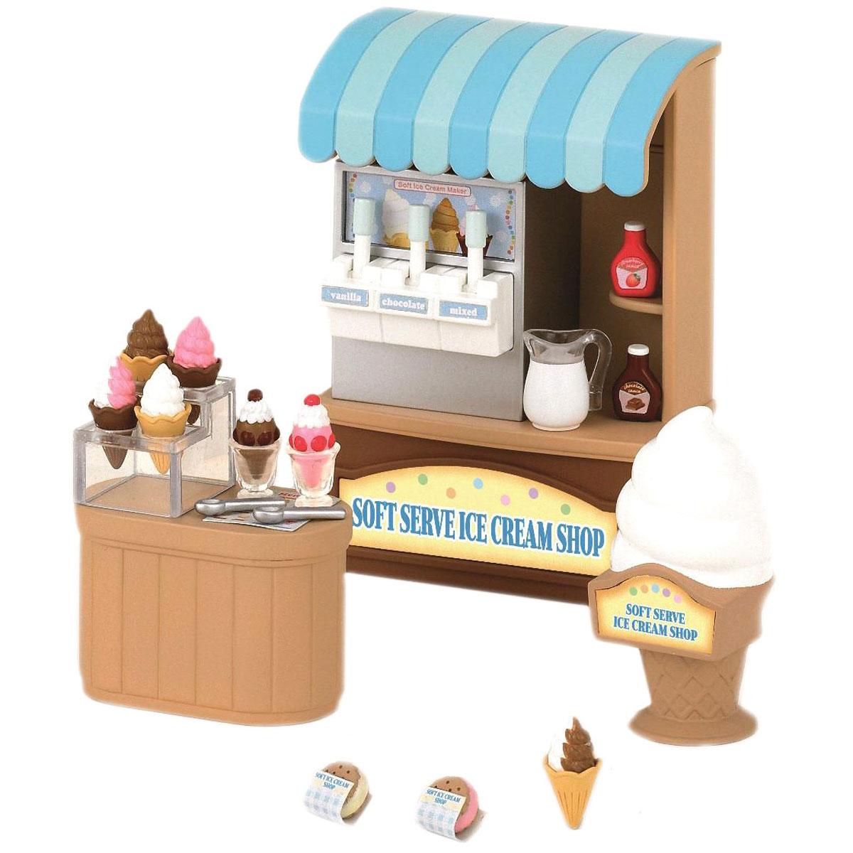 Sylvanian Families Игровой набор Магазин мороженого2811Игровой набор Sylvanian Families Магазин мороженого привлечет внимание вашей малышки и не позволит ей скучать. Набор включает в себя аппарат с мороженым, прилавок, подставку для мороженого, бутылочки с джемом и другие аксессуары. Ваша малышка будет часами играть с набором, придумывая различные истории. Sylvanian Families - это целый мир маленьких жителей, объединенных общей легендой. Жители страны Sylvanian Families - это кролики, белки, медведи, лисы и многие другие. У каждого из них есть дом, в котором есть все необходимое для счастливой жизни. В городе, где живут герои, есть школа, больница, рынок, пекарня, детский сад и множество других полезных объектов. Жители этой страны живут семьями, в каждой из которой есть дети. В домах Sylvanian Families царит уют и гармония. Домашние животные радуют хозяев. Здесь продумана каждая мелочь, от одежды до мебели и аксессуаров. Размер аппарата с мороженым: 7 см х 10 см х 3,5 см.