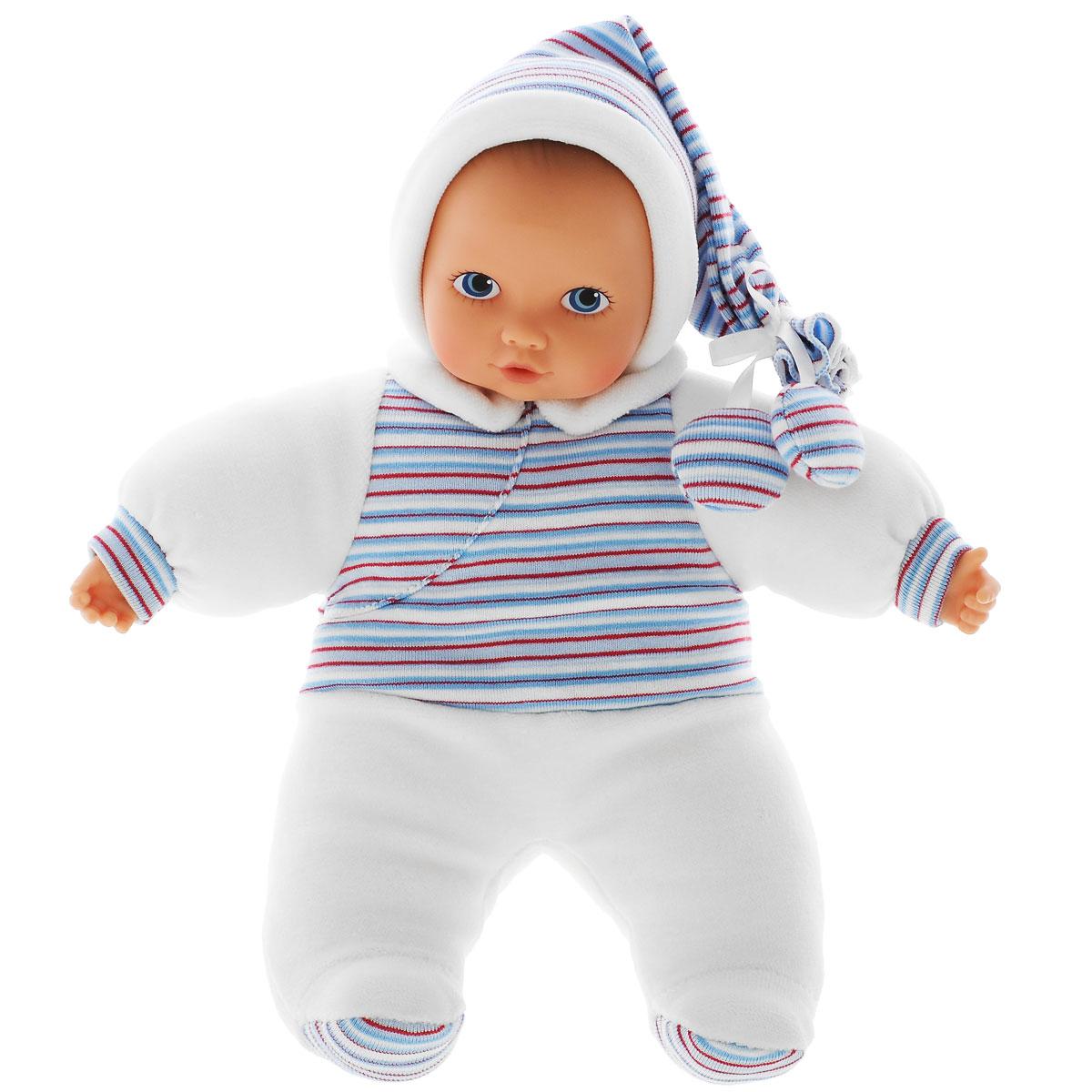 Gotz Пупс Baby Pure цвет комбинезона белый синий1191111Мягкий Пупс Baby Pure, немецкой фирмы Gotz понравится всем малышам, ведь с ним можно проводить много времени вместе, укладывать спать и брать с собой на прогулку. Кукла Baby Pure с мягким телом одета в костюмчик для сна. На малыше мягкий флисовый костюм и шапочку белого цвета с разноцветными полосками. Наряд куколки плотно соединен с тельцем и не снимается. Пупс не имеет волос, голова, руки и ноги выполнены из винила. Малыш имеет очаровательные черты лица: маленький рот и носик, широко раскрытые глазки с нарисованными ресницами. Кукла полностью безопасна и гипоаллергенна, поэтому подходит малышам с самого рождения.