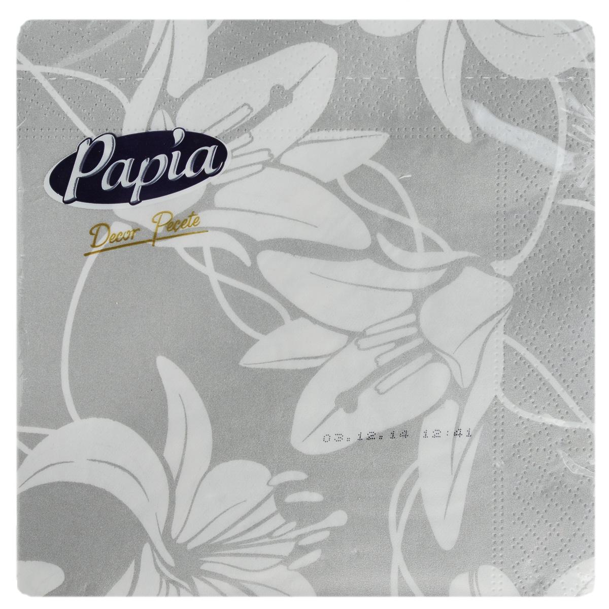 Салфетки бумажные Papia Decor, трехслойные, цвет: белый, серый, 33 x 33 см, 20 шт15302_серый/цветыТрехслойные салфетки Papia Decor, выполненные из 100% целлюлозы, оформлены красочным рисунком. Салфетки предназначены для красивой сервировки стола. Оригинальный дизайн салфеток добавит изысканности вашему столу и поднимет настроение. Размер салфеток: 33 см х 33 см.