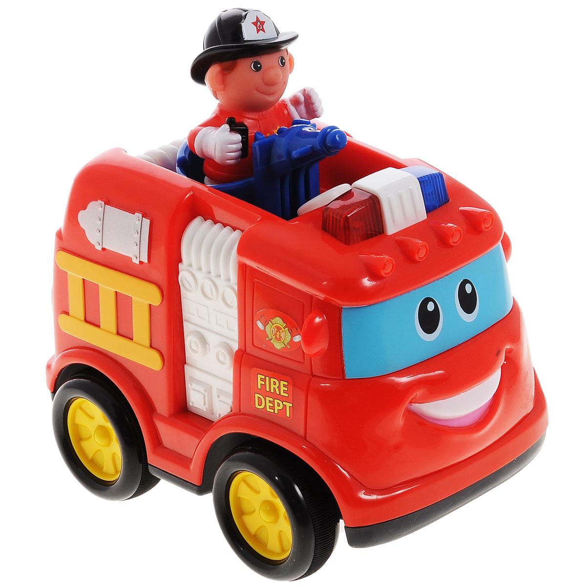 Kiddieland Развивающая игрушка Пожарная машинаKID 042937Развивающая игрушка Kiddieland Пожарная машина обязательно понравится малышу. Эта яркая забавная игрушка в виде пожарной машинки привлечет внимание любого мальчишки, ведь она издает разные звуки и мигает огоньками. Когда ребенок нажмет на фигурку водителя - машина поедет. На кабине машины есть несколько кнопок, нажимая которые можно услышать рев мотора и пожарную сирену. Игрушка развивает мелкую моторику, мышление, зрительное и звуковое восприятие, повышает двигательную активность малышей. Рекомендуемый возраст: от 18 месяцев. Питание: 3 батарейки типа АА (входят в комплект).