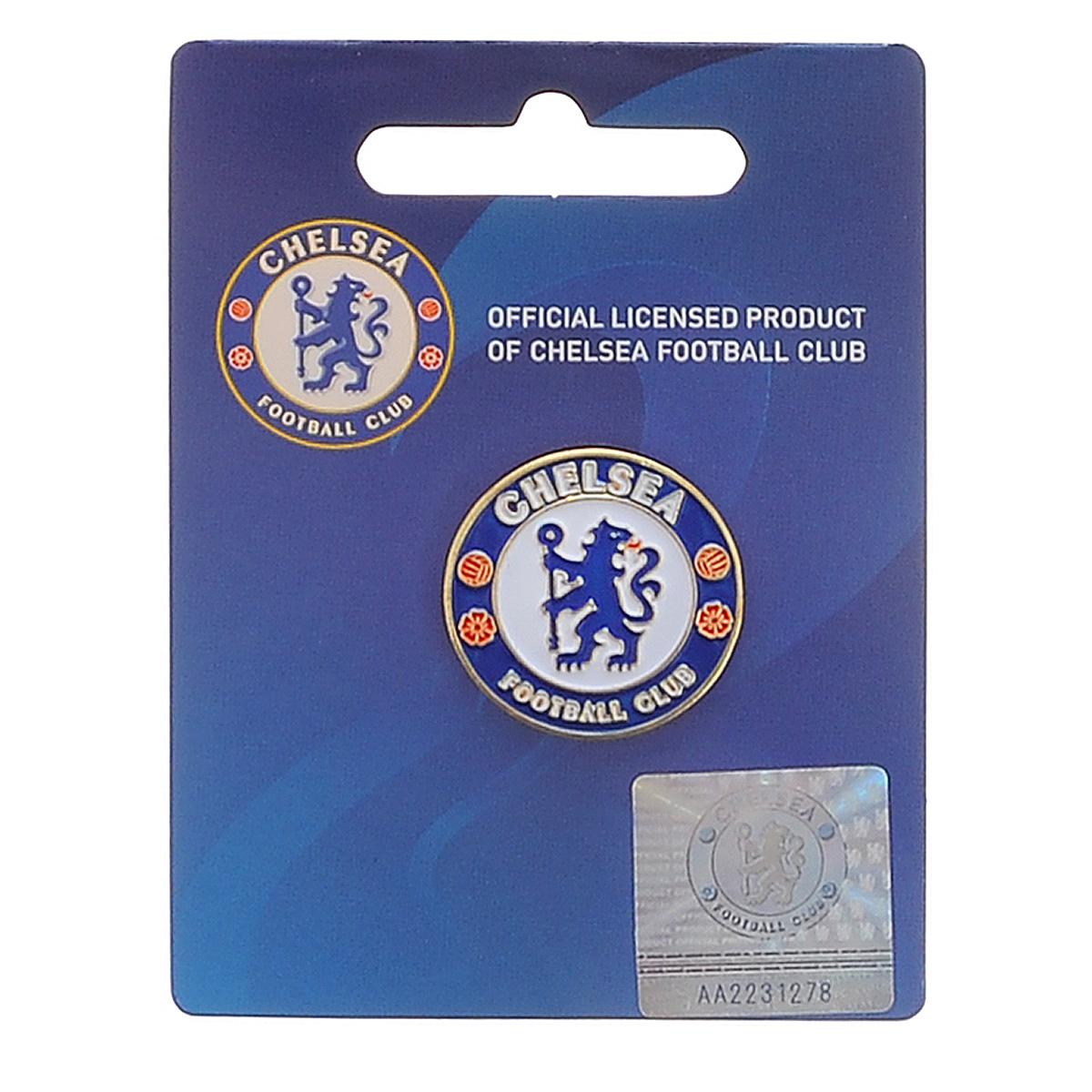 Значок Chelsea, цвет: синий, белый, красный, диаметр 2,4 см. 082008200Значок Chelsea изготовлен из металла. Крепится на застежку-гвоздик. Значок Chelsea - важный аксессуар истинного болельщика!