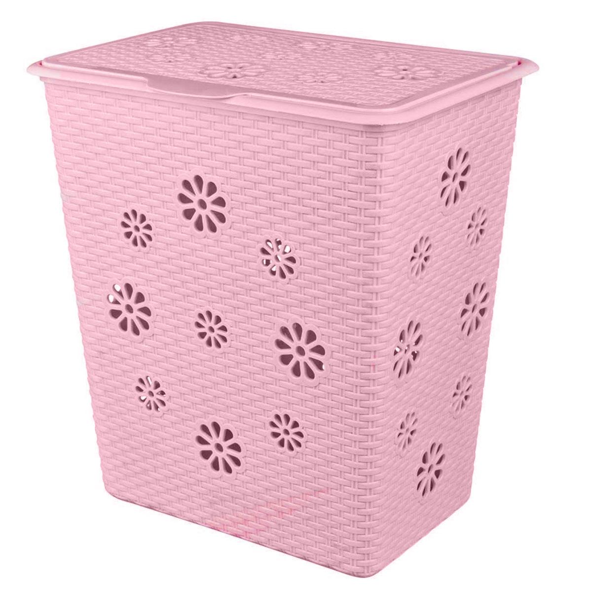 Корзина для белья Альтернатива Плетенка, цвет: розовый, 60 лМ2253Легкая и удобная корзина Альтернатива Плетенка прямоугольной формы изготовлена из пластика. Она отлично подойдет для хранения белья перед стиркой. Корзина, имитированная под плетение и декорированная небольшими отверстиями в форме цветов, скрывает содержимое от посторонних. Отверстия создают идеальные условия для проветривания. Изделие оснащено крышкой. Такая корзина для белья прекрасно впишется в интерьер ванной комнаты.