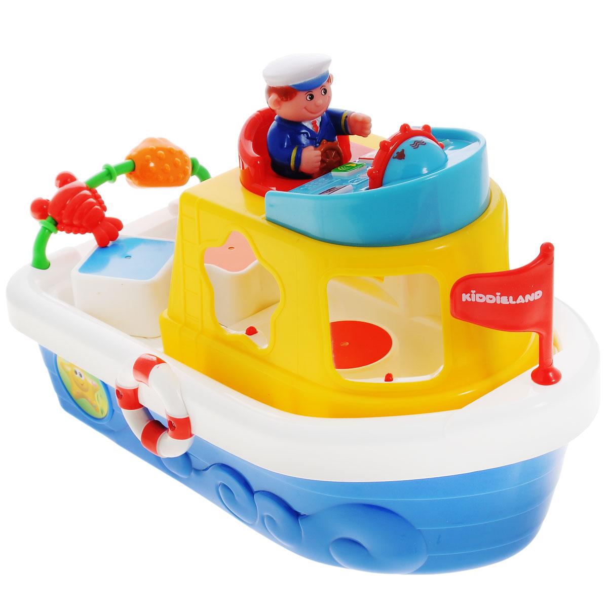 Kiddieland Развивающая игрушка Мой первый корабль-сортерKID 046045Развивающая игрушка Kiddieland Мой первый корабль-сортер обязательно порадует малыша. На палубе игрушки имеются геометрические отверстия, внутрь которых вставляются фигурки соответствующей формы. Каждая деталь отличается цветом. За рулем штурвала сидит отважный капитан, его также можно доставать и играть им отдельно. Игрушка оснащена звуковыми эффектами, что делает игру более интересной. Игрушка способствует развитию координации движений малыша, ловкости, внимательности и воображения. Рекомендуемый возраст: от 18 месяцев. Питание: 2 батарейки типа AА (входят в комплект).