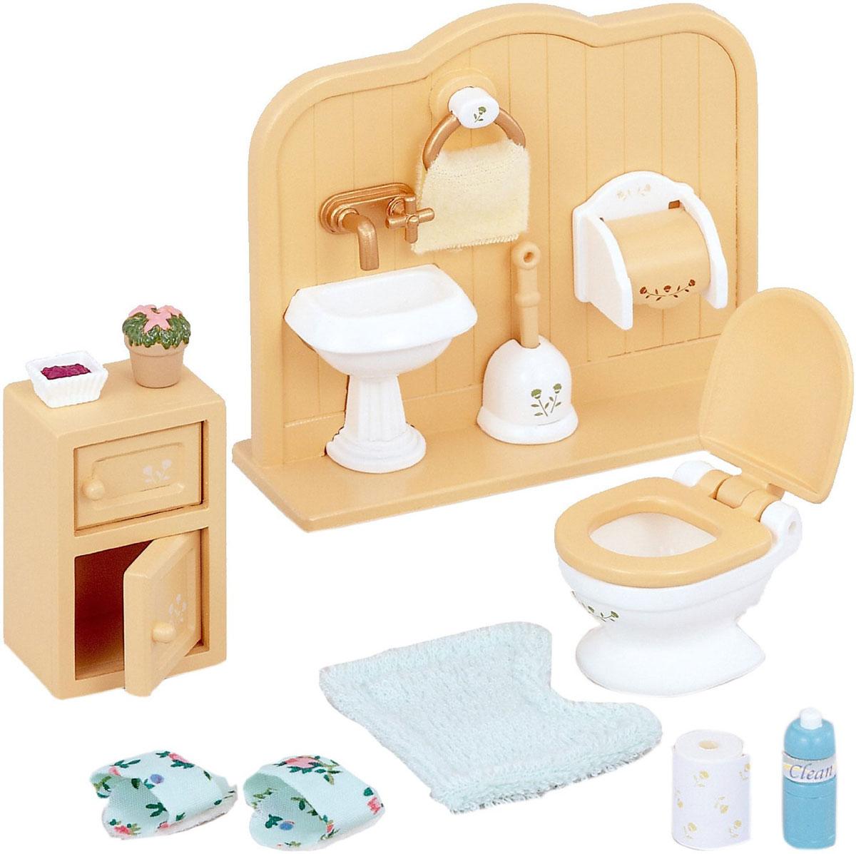 Sylvanian Families Игровой набор Туалетная комната3563Игровой набор Sylvanian Families Туалетная комната привлечет внимание вашей малышки и не позволит ей скучать. С помощью него она сможет оборудовать санузел в домике Sylvanian Families. Набор включает в себя стенку с умывальником, унитаз с поднимающейся сидушкой, шкафчик с двумя открывающимися дверками, коврик, тапочки, наклейки и различные аксессуары туалетной комнаты. Ваша малышка будет часами играть с набором, придумывая различные истории. Sylvanian Families - это целый мир маленьких жителей, объединенных общей легендой. Жители страны Sylvanian Families - это кролики, белки, медведи, лисы и многие другие. У каждого из них есть дом, в котором есть все необходимое для счастливой жизни. В городе, где живут герои, есть школа, больница, рынок, пекарня, детский сад и множество других полезных объектов. Жители этой страны живут семьями, в каждой из которой есть дети. В домах Sylvanian Families царит уют и гармония. Домашние животные радуют хозяев. Здесь...