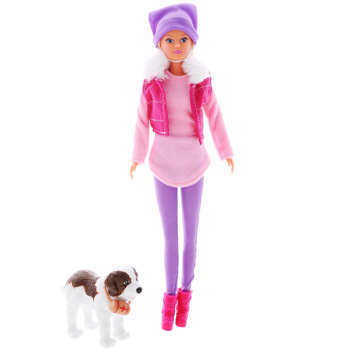Simba Кукла Штеффи на прогулке с собакой5730931Кукла Simba Штеффи на прогулке с собакой надолго займет внимание вашей малышки и подарит ей множество счастливых мгновений. Кукла изготовлена из прочного материала, ее голова, ручки и ножки подвижны, что позволяет придавать ей разнообразные позы. В комплект входит собака. Куколка одета в розовую кофту, сверху жилетка с мехом, на голове шапка, а на ногах леггинсы с сапожками. Чудесные длинные волосы куклы так весело расчесывать и создавать из них всевозможные прически, косички и хвостики. У Штеффи как всегда чудесный наряд под стать погоде, а с ней рядом ее верный друг и спасатель - собака, у которой на ошейнике есть аптечка для экстренной помощи. Благодаря играм с куклой, ваша малышка сможет развить фантазию и любознательность, овладеть навыками общения и научиться ответственности, а дополнительные аксессуары сделают игру еще увлекательнее. Порадуйте свою принцессу таким прекрасным подарком!