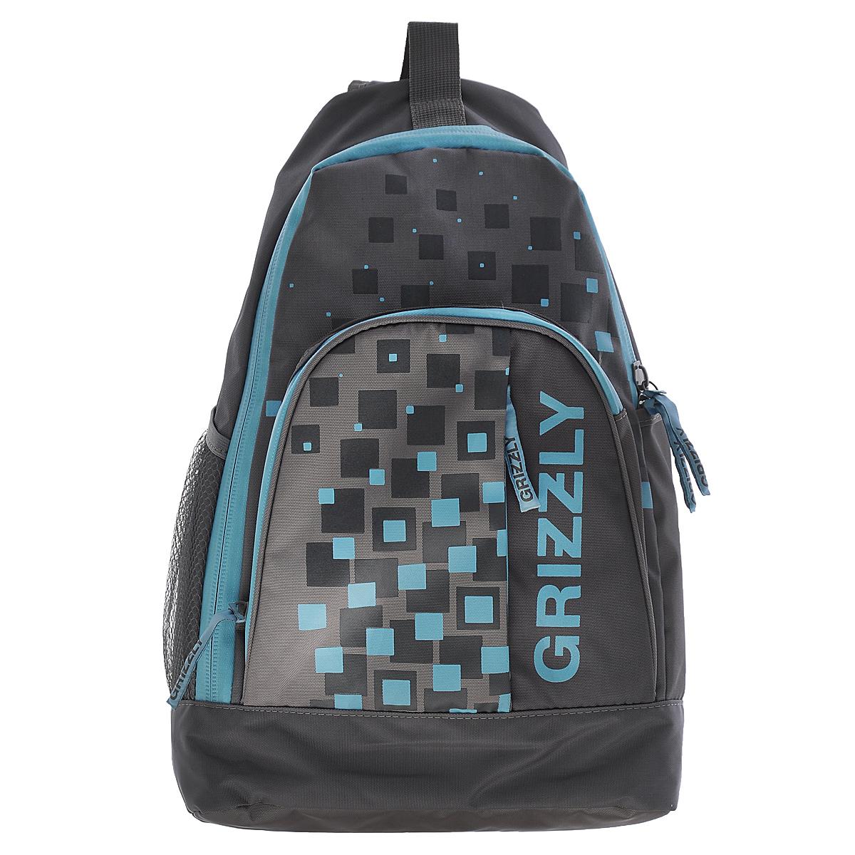 Рюкзак городской Grizzly, цвет: серый, голубой, 24 л. RU-510-2/1RU-510-2/1Рюкзак Grizzly - это удобный и практичный рюкзак, изготовленный из полиэстера. Рюкзак имеет одно главное отделение, которое закрывается на застежку-молнию. Внутри основного отделения - карман на липучке. По бокам рюкзака - два кармана, один из которых - сетчатый на резинке. На передней панели - вместительный карман на змейке с четырьмя небольшими кармашками внутри для письменных принадлежностей. Также на вместительном кармане расположен еще один потайной карман на змейке. Модель имеет укрепленную спинку с мягкой рельефной вставкой и одну лямку, а также ручку-петлю. Лямка оснащена мини-карманом для разных небольших мелочей и аксессуаров. Такой рюкзак - практичное и стильное приобретение на каждый день.