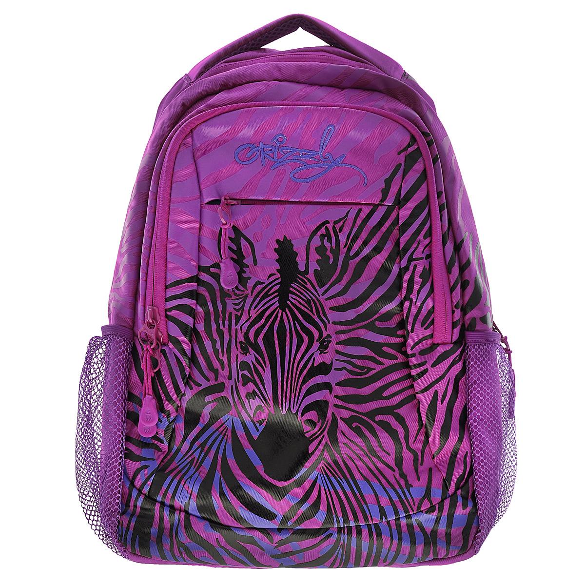 Рюкзак городской Grizzly, цвет: лиловый, черный, 24 л. RD-534-2/1RD-534-2/1Рюкзак Grizzly - это удобный и практичный рюкзак, изготовленный из полиэстера. Рюкзак имеет одно главное и одно дополнительное отделение, которые закрываются на застежку-молнию. Внутри основного отделения - карман на молнии, а внутри дополнительного - сетчатый карман на змейке и четыре кармашка для письменных принадлежностей. По бокам рюкзака - два сетчатых кармана на резинке, а на передней панели - небольшой кармашек на молнии. Модель имеет укрепленную спинку с мягкими рельефными вставками и анатомическими лямками, а также ручку для переноски. Такой рюкзак - практичное и стильное приобретение на каждый день.