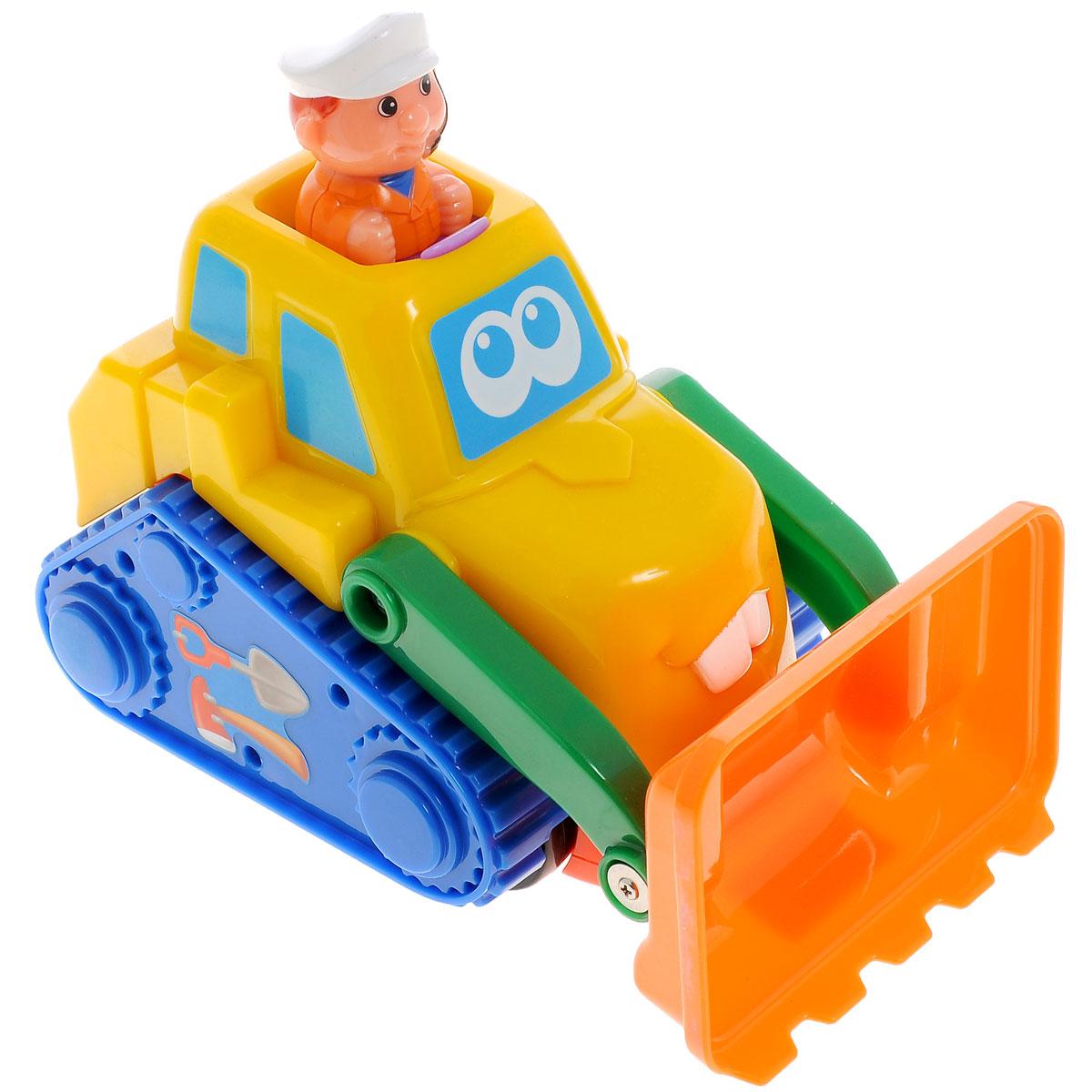 Kiddieland Развивающая игрушка БульдозерKID 049874Яркая развивающая игрушка Kiddieland Бульдозер со звуковыми эффектами обязательно понравится любому мальчишке. За рулем машинки сидит водитель, если на него нажать, то бульдозер поедет вперед под веселую музыку. Если нажать на кнопку перед водителем, то будет слышен звук гудка и двигателя. Если нажать на кнопку на задней части машинки, то будет слушен звук заправки. Водителя можно достать из кабины автомобиля и играть им отдельно. Игрушка способствует развитию, мелкой моторики, цветовосприятия, воображения и творческого мышления. Рекомендуемый возраст: от 18 месяцев. Питание: 2 батарейки типа АА (входят в комплект).