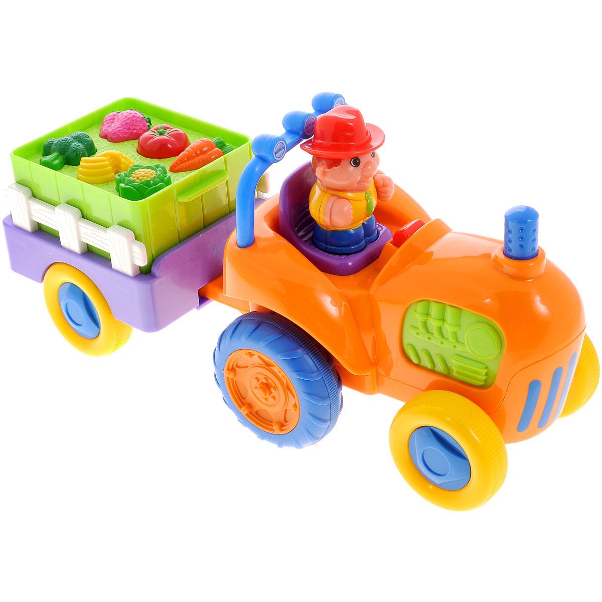 Kiddieland Развивающая игрушка Трактор с овощамиKID 037325Развивающий игровой центр Kiddieland Трактор с овощами обязательно порадует малыша. Трактор снабжен настоящим прицепом, в котором лежат овощи. А в кабине трактора сидит вынимающийся человечек-водитель. Если нажать на фигурку водителя, или вынуть, а потом заново посадить его на сиденье, заиграет забавная мелодия. При нажатии на руль слышен звук клаксона. Если нажать на трубу, трактор будет издавать звук заводящегося мотора. Если нажать на овощи в прицепе - услышим, как они называются по-английски, а потом заиграет мелодия. Игрушка способствует развитию координации движений малыша, ловкости, внимательности и воображения. Рекомендуемый возраст: от 12 месяцев. Питание: 3 батарейки типа AА (входят в комплект).