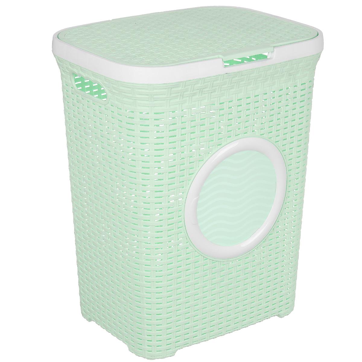 Корзина для белья ВиолетПласт, с крышкой, цвет: зеленый, белый, 60 л1861/18Вместительная корзина для белья Violet изготовлена из прочного цветного пластика и декорирована отверстием в виде иллюминатора. Она отлично подойдет для хранения белья перед стиркой. Специальные отверстия на стенках создают идеальные условия для проветривания. Изделие оснащено крышкой и двумя эргономичными ручками для переноски. Такая корзина для белья прекрасно впишется в интерьер ванной комнаты.