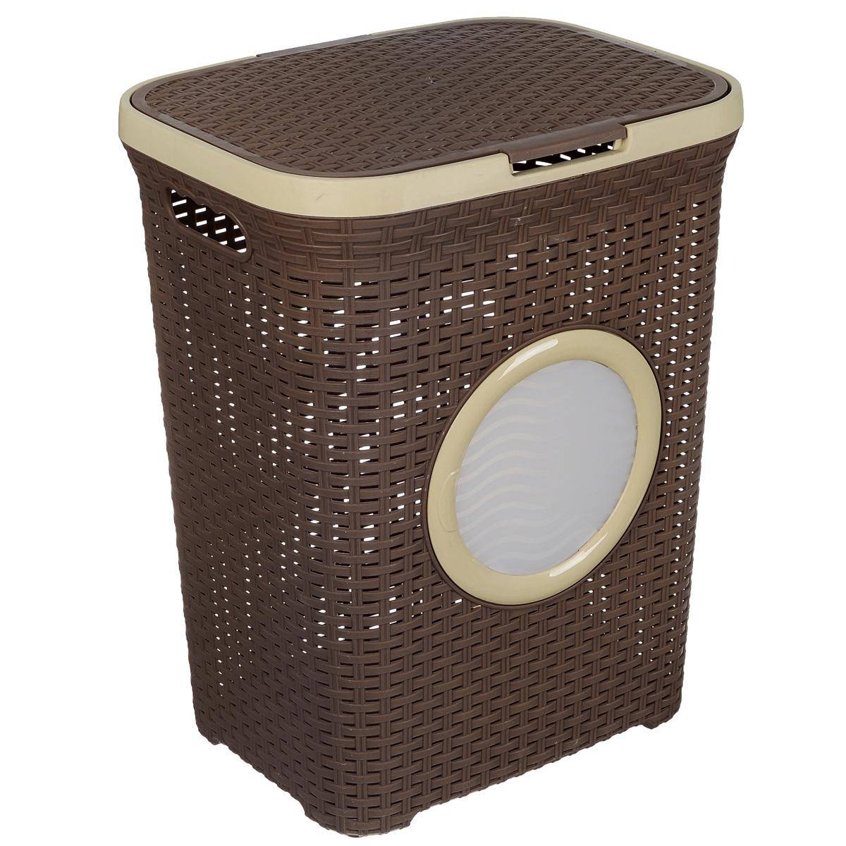 Корзина для белья Violet, с крышкой, цвет: бежевый, темно-коричневый, 60 л1861/1Вместительная корзина для белья Violet изготовлена из прочного цветного пластика и декорирована отверстием в виде иллюминатора. Она отлично подойдет для хранения белья перед стиркой. Специальные отверстия на стенках создают идеальные условия для проветривания. Изделие оснащено крышкой и двумя эргономичными ручками для переноски. Такая корзина для белья прекрасно впишется в интерьер ванной комнаты.