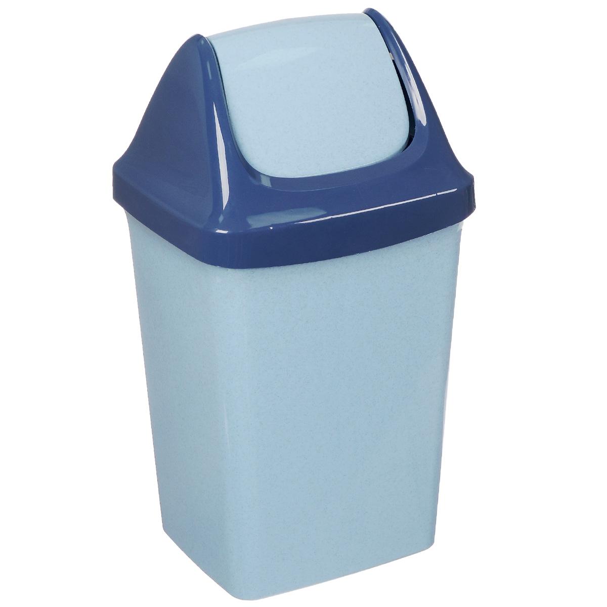 Контейнер для мусора Idea Ролл Топ, цвет: голубой мрамор, 15 лМ 2466Контейнер для мусора Idea Ролл Топ изготовлен из прочного полипропилена (пластика). Контейнер снабжен удобной съемной крышкой с подвижной перегородкой. Благодаря лаконичному дизайну такой контейнер идеально впишется в интерьер и дома, и офиса.