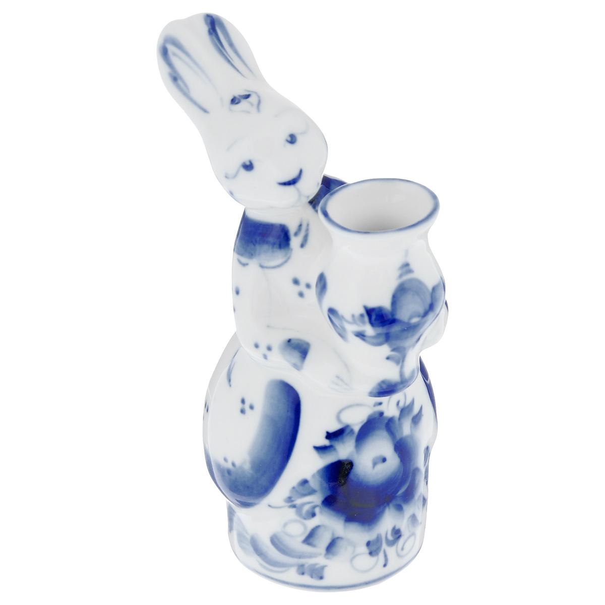 """Гжельский фарфоровый завод Ваза """"Зайчиха"""", цвет: белый, синий, высота 12,5 см"""