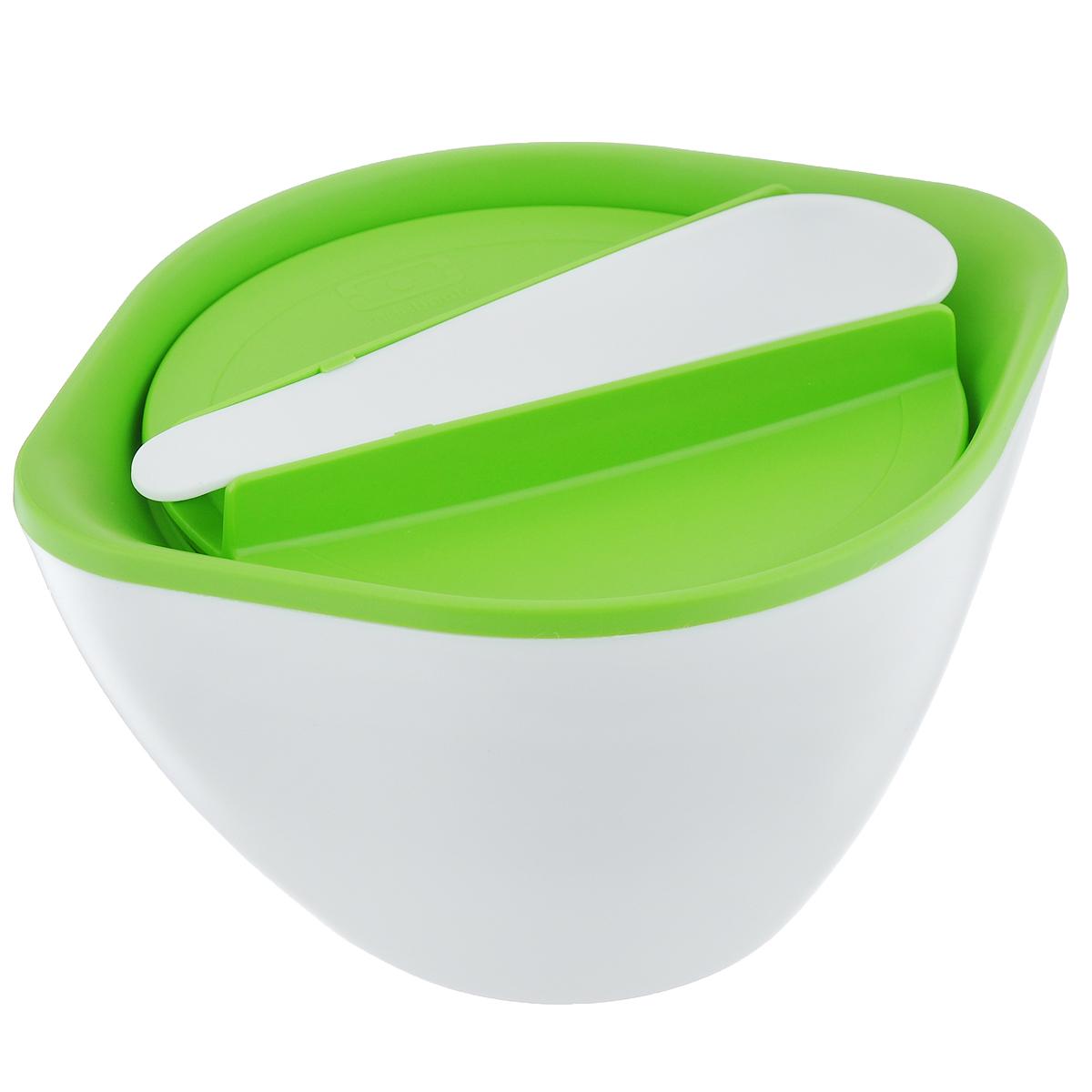 Супница Monbento Lib, цвет: салатовый, белый, 450 мл1011 03 005Термосупница Monbento Lib выполнена из высокопрочного пластика. Вакуумная крышка супницы плотно прилегает к основе, а двойные стенки супницы позволяют держать ее в руках, даже если внутри горячая еда. Супница сохранит еду горячей в течение 3-4 часов. В комплекте есть ложка, которая надежно крепиться на крышке. Супница Monbento Lib очень практична, она позволит брать с собой еду или пользоваться ей дома. Можно ставить в холодильник, греть в микроволновой печи и мыть в посудомоечной машине. Объем: 450 мл. Размер супницы: 17 см х 14 см х 9,5 см.