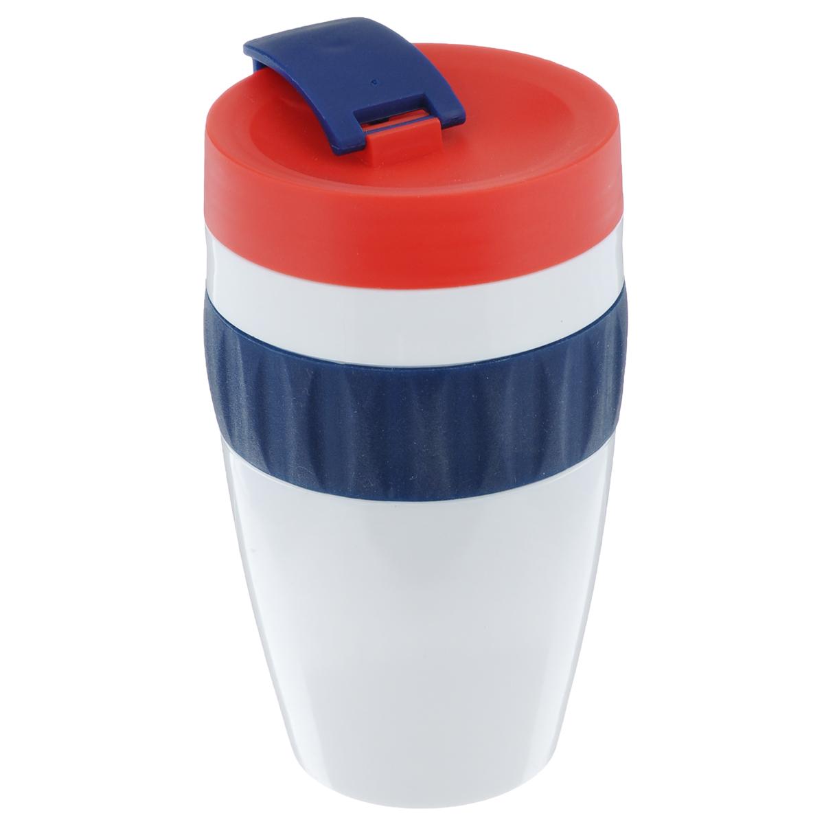 Кружка Sagaform для напитков на вынос, цвет: белый, синий, красный, 400 мл5017157Кружка Sagaform для напитков на вынос, выполненная из пищевого пластика, оснащена отвинчивающейся крышкой со специальным клапаном. Благодаря такой крышке кружку можно брать с собой в дорогу или на прогулку. Резиновая вставка на корпусе изделия предотвращает скольжение в руках. Объем: 400 мл. Диаметр (по верхнему краю): 7 см. Высота кружки (без учета крышки): 13 см.