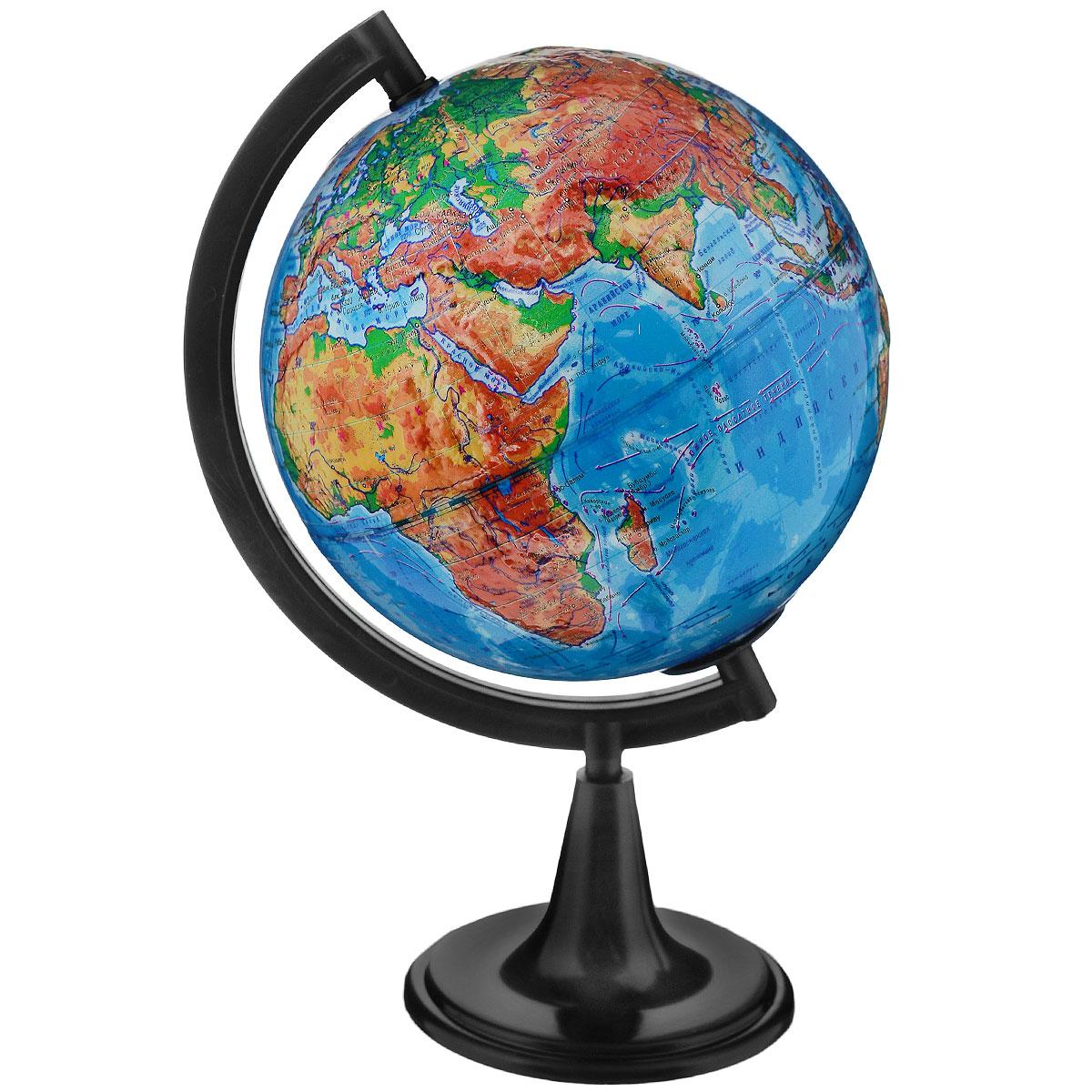Глобусный мир Глобус с физической картой, рельефный, диаметр 15 см, на подставке, с подсветкой10336Географический глобус рельефный с физической картой мира станет незаменимым атрибутом обучения не только школьника, но и студента. На глобусе отображены линии картографической сетки, гидрографическая сеть, рельеф суши и морского дна, крупнейшие населенные пункты, теплые и холодные течения. Глобус снабжен меридианом с градусными отметками, а также имеет функцию подсветки от электрической сети. Глобус является уменьшенной и практически не искаженной моделью Земли и предназначен для использования в качестве наглядного картографического пособия, а также для украшения интерьера квартир, кабинетов и офисов. Красочность, повышенная наглядность визуального восприятия взаимосвязей, отображенных на глобусе объектов и явлений, в сочетании с простотой выполнения по нему различных измерений делают глобус доступным широкому кругу потребителей для получения разнообразной познавательной, научной и справочной информации о Земле. Глобус на оригинальной пластиковой подставке черного...