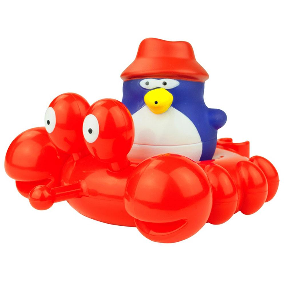 Water Fun Игрушка для ванны Краб23200Игрушка для ванны Краб обязательно порадует малыша и сделает принятие ванной и водные процедуры забавным развлечением. Очаровательный пингвин-покорители водной стихии передвигается по воде на крабе. Его можно использовать отдельно, или соединить с другими игрушками из той же серии. Так места хватит для большего количества пассажиров. Яркие впечатления и звонкий смех станут постоянными явлениями во время купания. Игрушки выполнены из высококачественных материалов, поэтому они не принесут никакого вреда ребенку. Игрушка помогает развивать мелкую моторику, цветовосприятие и воображение.