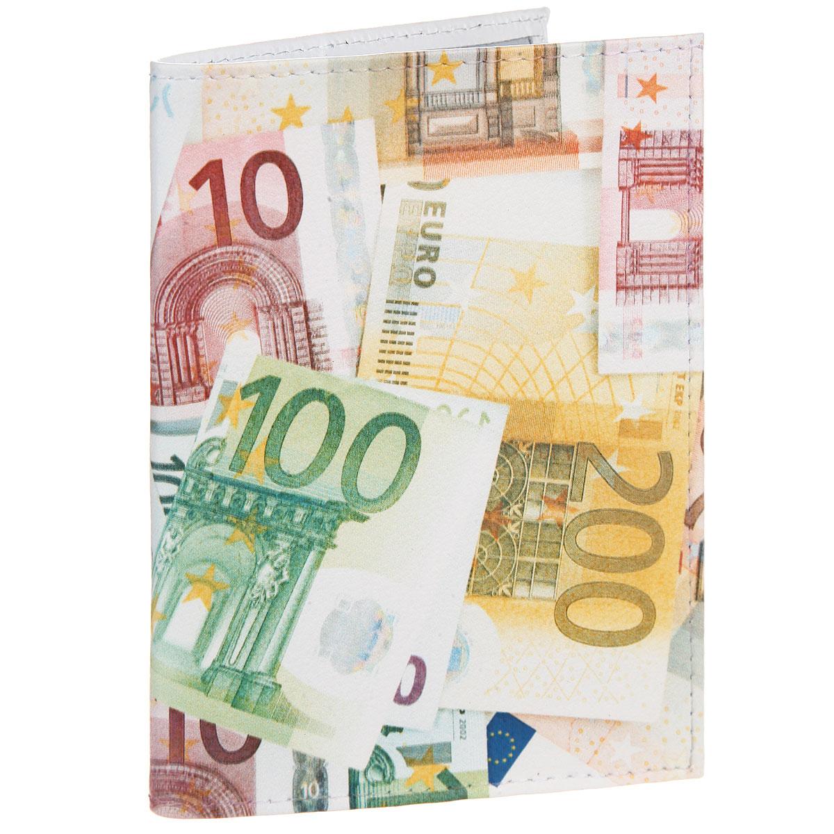 Обложка для паспорта Евро. OK354OK354Стильная обложка для паспорта Mitya Veselkov Евро выполнена из натуральной кожи с зернистой текстурой. Обложка оформлена художественной печатью с изображением купюр. На оборотной стороне имеет карман для посадочного талона. Элегантная обложка Mitya Veselkov Евро не только поможет сохранить внешний вид ваших документов и защитит их от повреждений, но и станет стильным аксессуаром, идеально подходящим вашему образу.