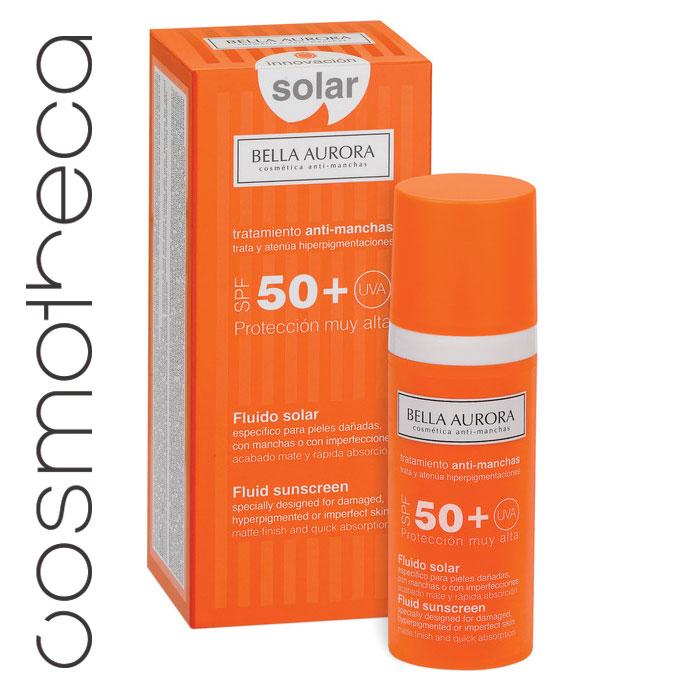 Bella Aurora Флюид для лица солнцезащитный SPF50+ 50 млBA4096132Максимальная защита. Солнцезащитное средство с широким диапазоном солнечных фильтров UVA и UVB, обеспечивает высокую степень защиты от излучения. Формула содержит мощные депигментирующие компоненты, которые действуют на уже имеющиеся дефекты кожи, заметно их уменьшая, так и препятствуют появлению новых.