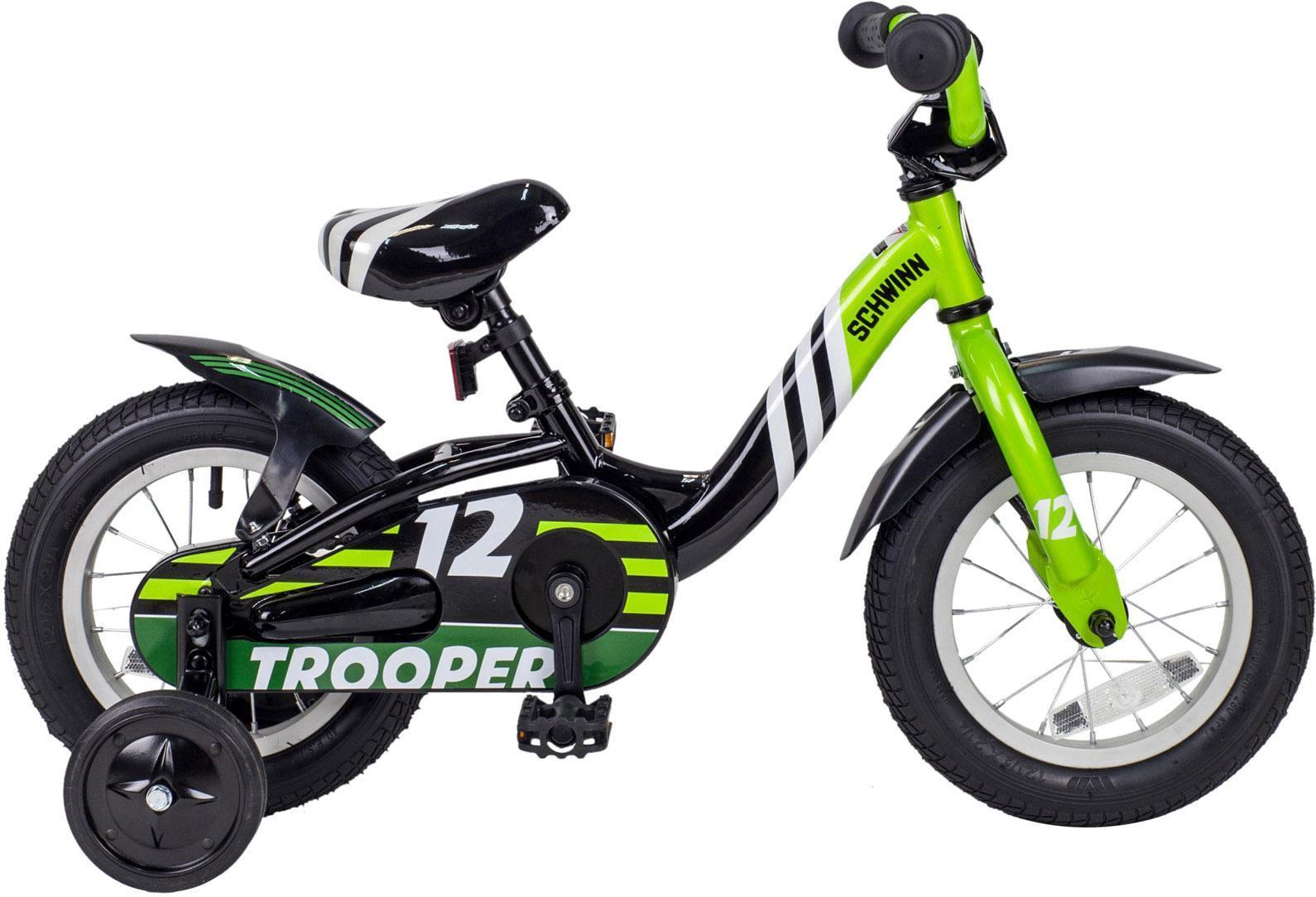 Велосипед детский Schwinn Trooper (2015) Black-Lime43247Schwinn Trooper 2015 года – это уникальный велосипед в своем классе! Беговел и велосипед в одной модели! Перевоплощение происходит очень легко благодаря быстросъемным шатунам! Стильная модель собрана на новой прочной раме и рассчитана на мальчиков в возрасте от 1 до 3 лет. Бренд Schwinn – это традиционное качество, которое остается неизменным уже на протяжении более 100 лет. Родители оценят универсальность, безопасность и легкий вес велосипеда, а детям понравится яркий и удобный дизайн! Вилка: Schwinn Седло: Schwinn Sidewalk Kids Цепь: KMC Z410 Спицы: Stainless 14g Задняя втулка: Schwinn Задняя покрышка: Schwinn Передняя покрышка: Schwinn Размер рамы: 12.0