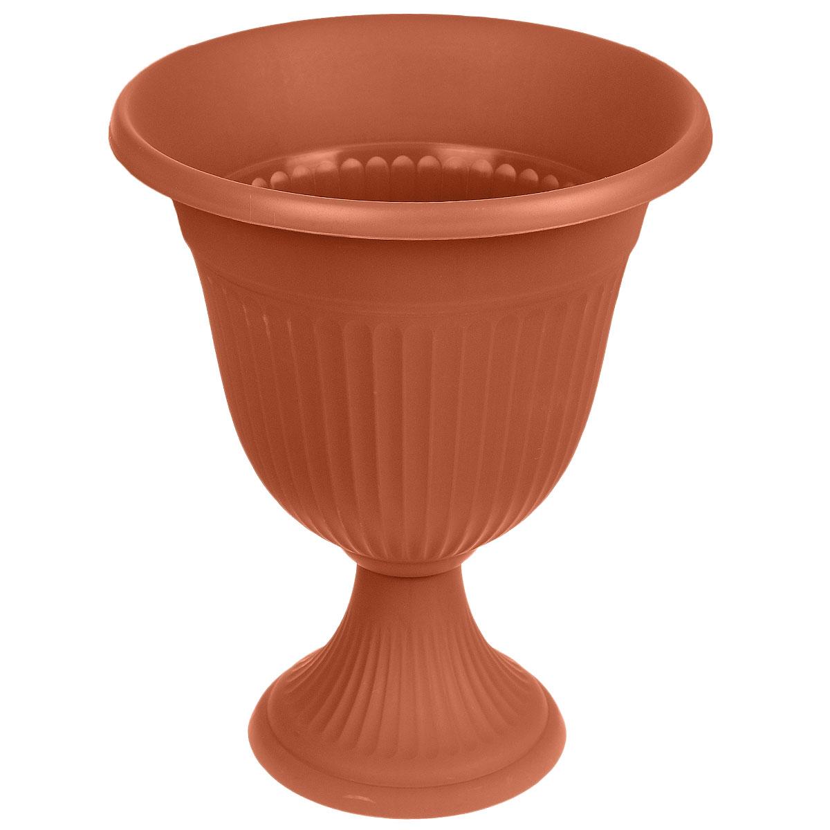 Вазон Idea Ливия, цвет: терракотовый, высота 43 смМ 3203Вазон Idea Ливия изготовлен из высококачественного полипропилена (пластика). Верхняя часть съемная. Благодаря устойчивому широкому основанию вазон не упадет. Такой вазон прекрасно подойдет для выращивания растений и цветов в домашних условиях. Классический дизайн впишется в любой интерьер. Диаметр (по верхнему краю): 35 см. Высота: 43 см. Диаметр основания: 20,5 см.