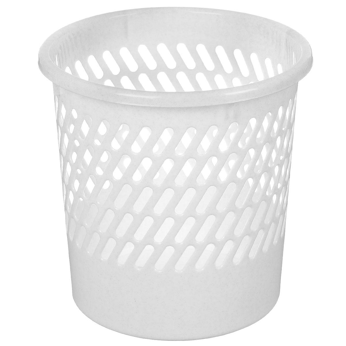 Корзина для бумаг Полимербыт, цвет: мраморный, высота 27 смС909Корзина для бумаг Полимербыт, выполненная из высококачественного полипропилена, предназначена для сбора мелкого мусора и бумаг. Стенки корзины оформлены перфорацией. Удобная компактная корзина прекрасно впишется в интерьер гостиной, спальни, офиса или кабинета. Диаметр (по верхнему краю): 26 см. Высота: 27 см.