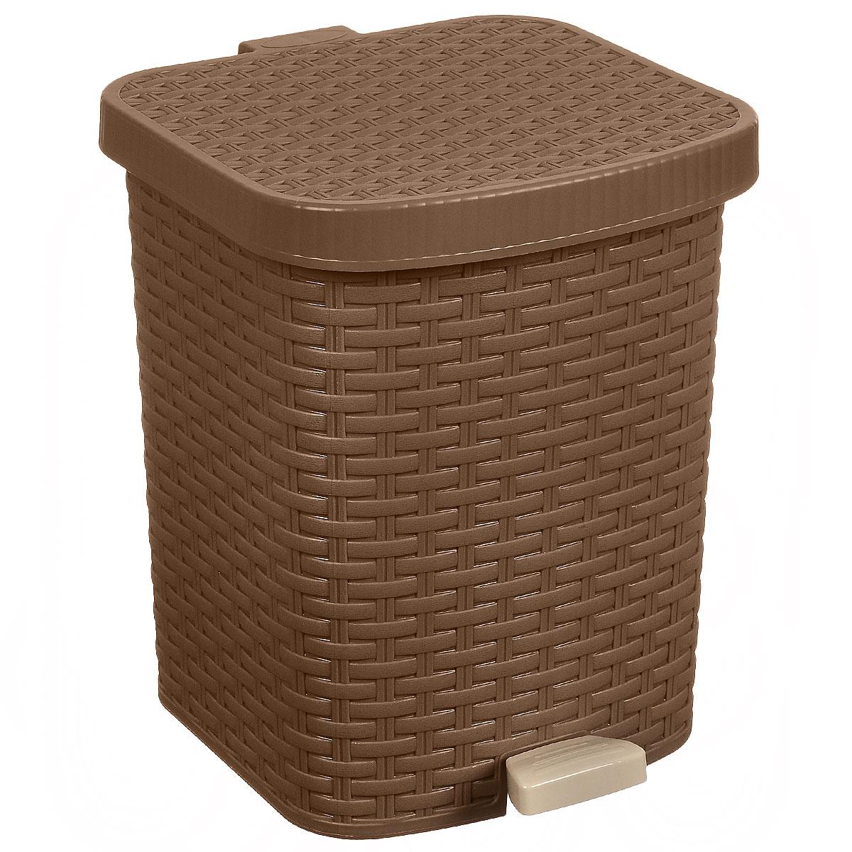 Контейнер для мусора Полимербыт Артлайн, с педалью, 12 лС488Контейнер для мусора Полимербыт Артлайн изготовлен из высококачественного цветного пластика и декорирован рельефом. Контейнер оснащен педалью, с помощью которой можно открыть крышку. Закрывается крышка бесшумно, плотно прилегает, предотвращая распространение запаха. Бороться с мелким мусором станет легко. Внутри ведро с ручкой, которое при необходимости можно достать из контейнера. Контейнер для мусора Полимербыт Артлайн - это не только емкость для хранения мусора, но и яркий предмет декора, который оригинально украсит интерьер кухни или ванной комнаты. Размер контейнера: 26 см х 27 см х 32 см.