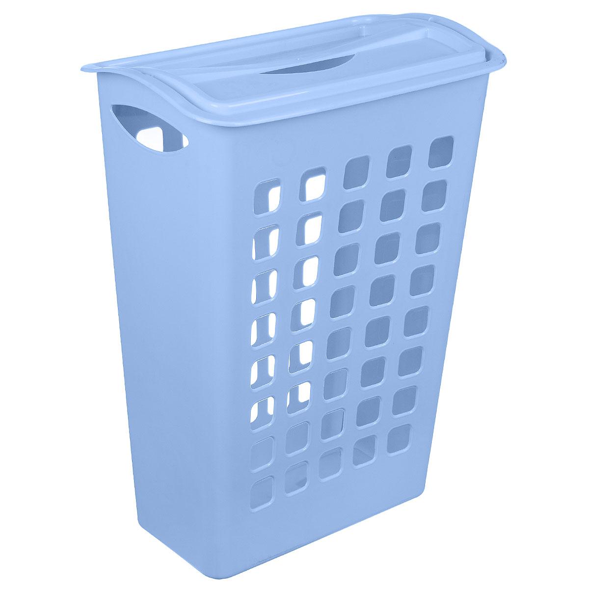 Корзина для белья Бытпласт, цвет: голубой, 43 см х 26 см х 58 смС12554Узкая корзина для белья Бытпласт изготовлена из прочного полипропилена. Она отлично подойдет для хранения белья перед стиркой. Специальные отверстия на стенках создают идеальные условия для проветривания. Изделие оснащено крышкой. Такая корзина для белья прекрасно впишется в интерьер ванной комнаты.