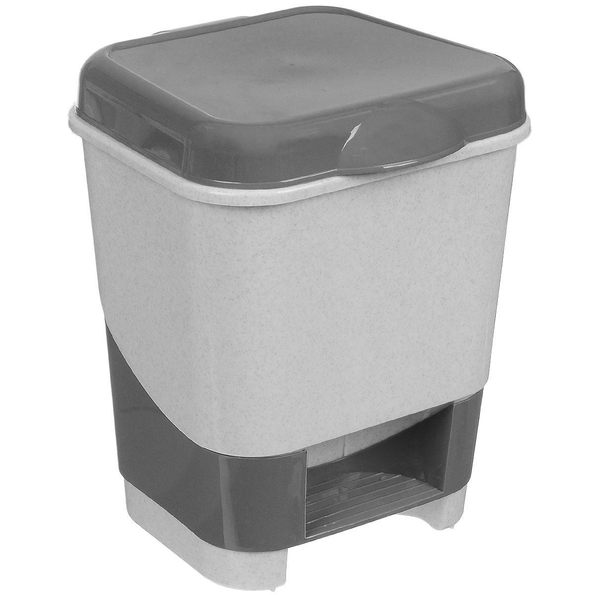 Контейнер для мусора Полимербыт, с педалью, цвет: серый, белый, 8 лС427Контейнер для мусора Полимербыт изготовлен из высококачественного цветного пластика. Контейнер оснащен педалью, с помощью которой можно открыть крышку. Крышка плотно прилегает, предотвращая распространение запаха. Бороться с мелким мусором станет легко. Контейнер для мусора Полимербыт - это не только емкость для хранения мусора, но и яркий предмет декора, который оригинально украсит интерьер кухни или ванной комнаты.