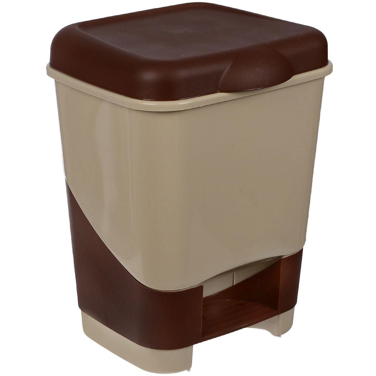 Контейнер для мусора Полимербыт, с педалью, цвет: бежевый, коричневый, 20 лС428Контейнер для мусора Полимербыт изготовлен из высококачественного цветного пластика. Контейнер оснащен педалью, с помощью которой можно открыть крышку. Крышка плотно прилегает, предотвращая распространение запаха. Бороться с мелким мусором станет легко. Контейнер для мусора Полимербыт - это не только емкость для хранения мусора, но и яркий предмет декора, который оригинально украсит интерьер кухни или ванной комнаты.