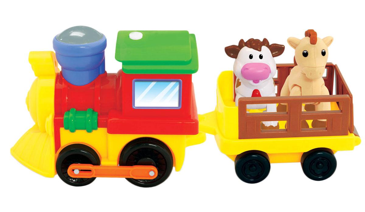 Kiddieland Развивающая игрушка Поезд с животнымиKID 050096Яркая развивающая игрушка Kiddieland Поезд с животными не оставит равнодушным ни одного малыша. Поезд со звуковыми и световыми эффектами движется вперед под веселую музыку и мигание разноцветных огоньков. В прицепе есть вынимающиеся фигурки лошади и коровы, которыми можно играть отдельно. Игрушка изготовлена из высококачественной пластмассы, не имеет острых углов и абсолютно безопасна для малыша. Игрушка способствует развитию, мелкой моторики, цветовосприятия, воображения и творческого мышления. Рекомендуемый возраст: от 12 месяцев. Питание: 4 батарейки типа АА (входят в комплект).