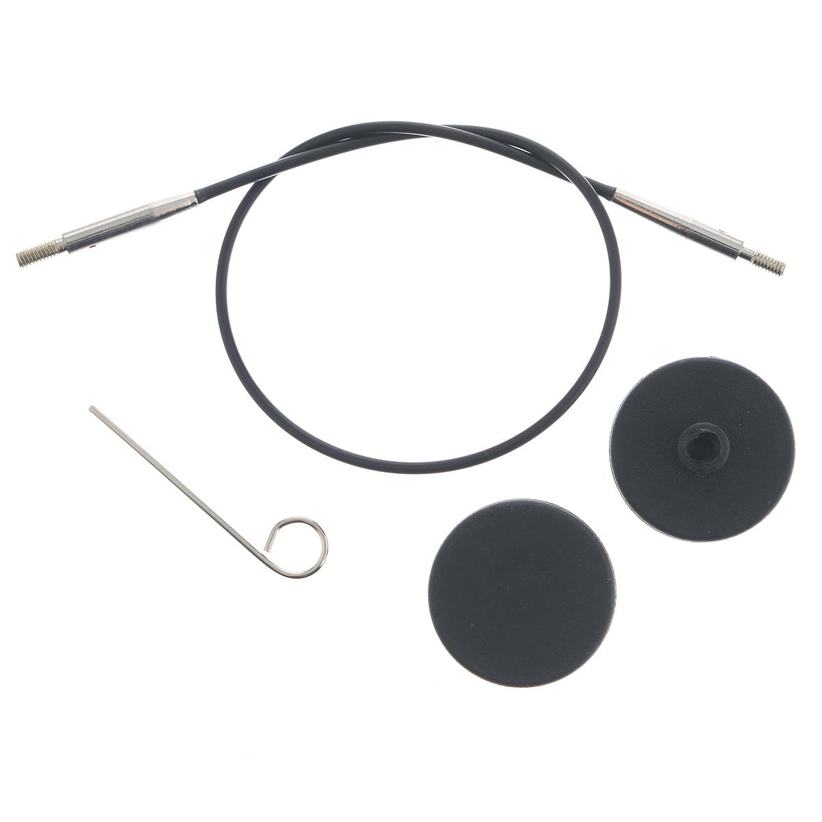 Набор для спиц KnitPro, цвет: черный, 4 предмета10520Набор для съемных укороченных спиц KnitPro состоит из тросика, 2 заглушек и ключика. Длинное резьбовое соединение на тросике гарантирует, что он не открутится от спицы на протяжении всего вязания. Ключик для лески помогает легче затягивать резьбу при присоединении спиц. А торцевые заглушки пригодятся, если вы захотите временно отложить вязание, при этом использовав спицы в другом проекте. Ваше вязание при это останется на леске и не распустится. Длина тросика: 20 см. Готовая длина спиц: 40 см. Диаметр заглушки: 2,5 см.