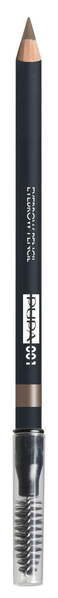PUPA Карандаш для бровей тон 001 EYEBROW PENCIL Светлый, 1,08 г240052001Карандаш для бровей выделяет и подчеркивает брови и обеспечивает создание натурального и естественного макияжа.Формула: содержит пластичный и мягкий воск, который обеспечивает безупречное нанесение, четкую и структурированную линию, гарантирует водостойкий результат и стойкий эффект надолго. Упаковка: Деревянный корпус черного сатинового цвета; Серебряный логотип и нанесение цвета кольцом; Аппликатор в форме кисти.