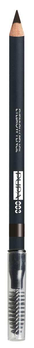 PUPA Карандаш для бровей тон 003 EYEBROW PENCIL Темный коричневый, 1,08 г240052003Карандаш для бровей выделяет и подчеркивает брови и обеспечивает создание натурального и естественного макияжа.Формула: содержит пластичный и мягкий воск, который обеспечивает безупречное нанесение, четкую и структурированную линию, гарантирует водостойкий результат и стойкий эффект надолго. Упаковка: Деревянный корпус черного сатинового цвета; Серебряный логотип и нанесение цвета кольцом; Аппликатор в форме кисти.
