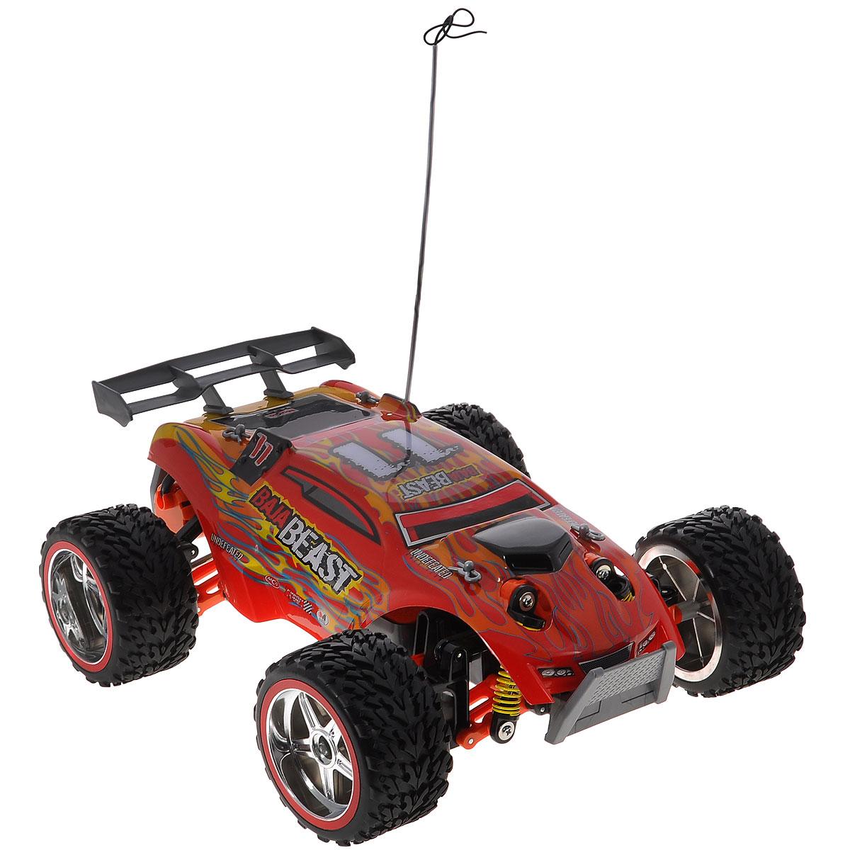 Maisto Радиоуправляемая модель Baja Beast цвет красный81132 R/UРадиоуправляемая модель Baja Beast с ярким динамичным дизайном обладает легким, но прочным каркасом, повышенной амортизацией колес и усиленной защитой. Все колеса машинки подпружинены. Модель оснащена ручной настройкой выравнивания передних колес. Скорость движения регулируется силой нажатия кнопки на пульте управления. Машинка движется вперед, дает задний ход, поворачивает влево и вправо, останавливается. Пульт управления имеет три канала, что позволяет одновременно играть трем игрокам. Такая модель станет отличным подарком не только любителю автомобилей, но и человеку, ценящему оригинальность и изысканность, а качество исполнения представит такой подарок в самом лучшем свете. Машина работает от аккумулятора 7,2V (входит в комплект), пульт управления работает от батареи напряжением 9V (входит в комплект).