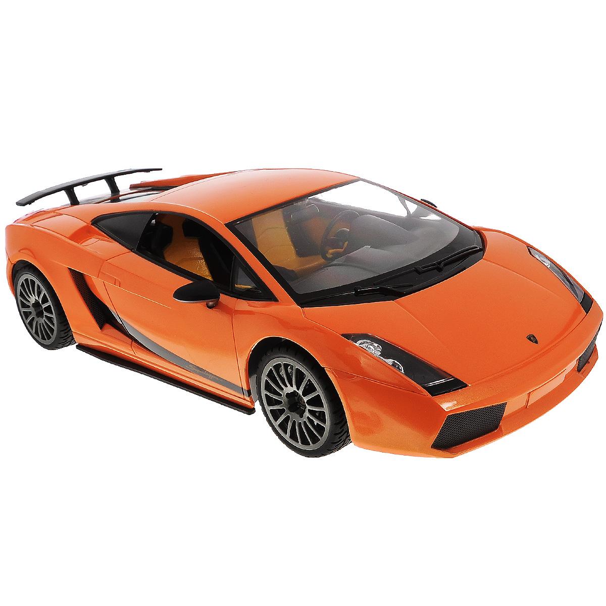 Rastar Радиоуправляемая модель Lamborghini Superleggera цвет оранжевый масштаб 1:1426400Маленький гонщик, несомненно, обрадуется подарку в виде шикарной радиоуправляемой машины. Ребенок вмиг разберется с управлением, пульт довольно прост в освоении, после чего сразу же устроит пробный заезд, а после тестового испытания начнет выжимать из мотора этого стального скакуна максимальную скорость.