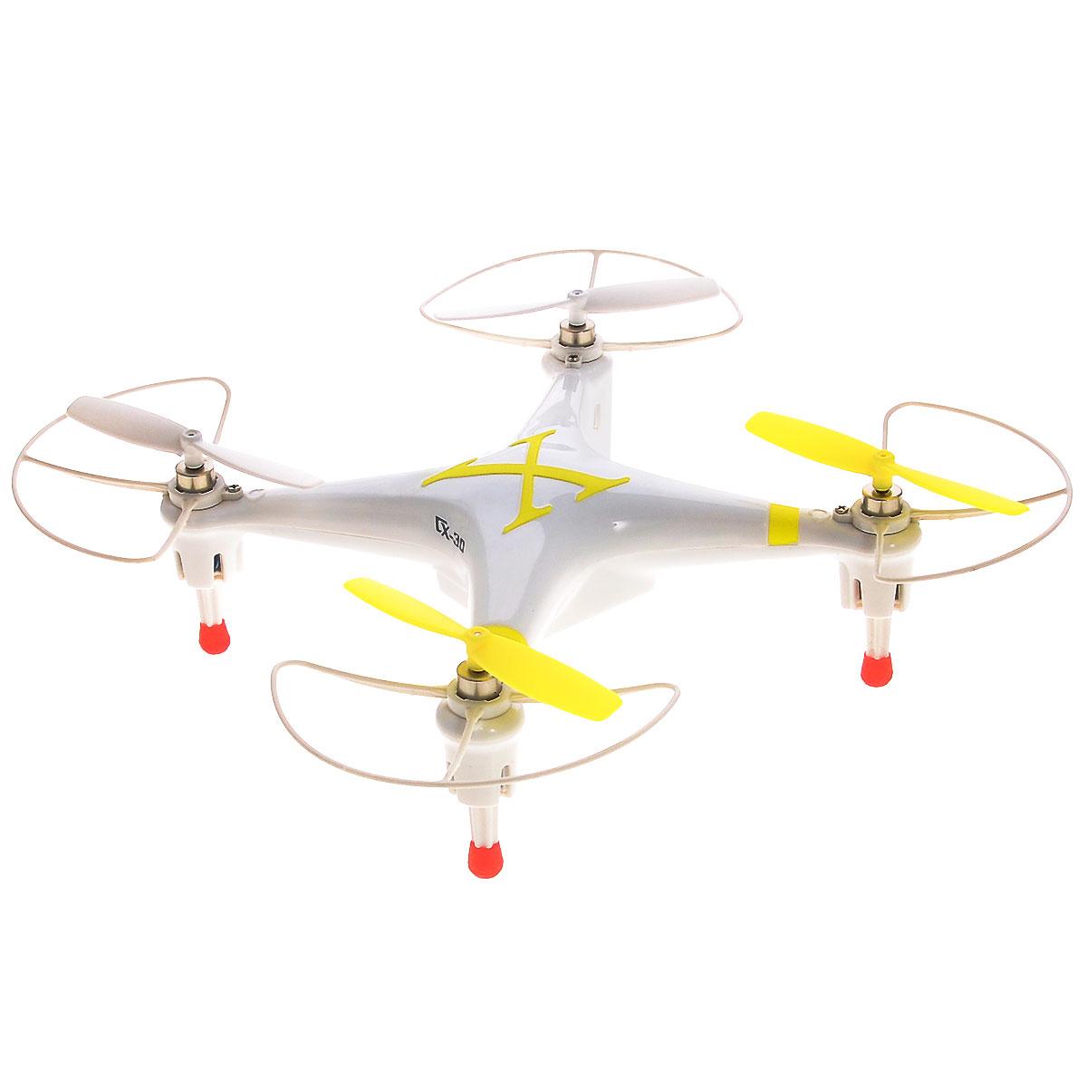 Bluesea Квадрокоптер на радиоуправлении CX-30 цвет белый желтыйCX-30_2Квадрокоптер на радиоуправлении Bluesea CX-30 с четырехканальным управлением непременно понравится вашему ребенку. В модели применен шестиосевой гироскоп, который придает устойчивость при полете. Квадрокоптер может подниматься, опускаться, двигаться вперед и назад, а также поворачиваться на 360 градусов. Управление осуществляется с помощью пульта дистанционного управления. Управлять машиной легко, она послушно двигается в нужную сторону. Квадрокоптер оснащен профессиональным передатчиком с частотой 2,4 GHz. Крепкий и прочный корпус защитит модель от ударов и повреждений. Также модель оснащена прорезиненными ножками для мягкой посадки. Благодаря компактным размерам игрушка подходит для полетов в закрытых помещениях. Радиоуправляемые игрушки развивают многочисленные способности ребенка - мелкую моторику, пространственное мышление, реакцию и логику. Квадрокоптер работает от встроенного аккумулятора, который заряжается с помощью USB. Для работы пульта...