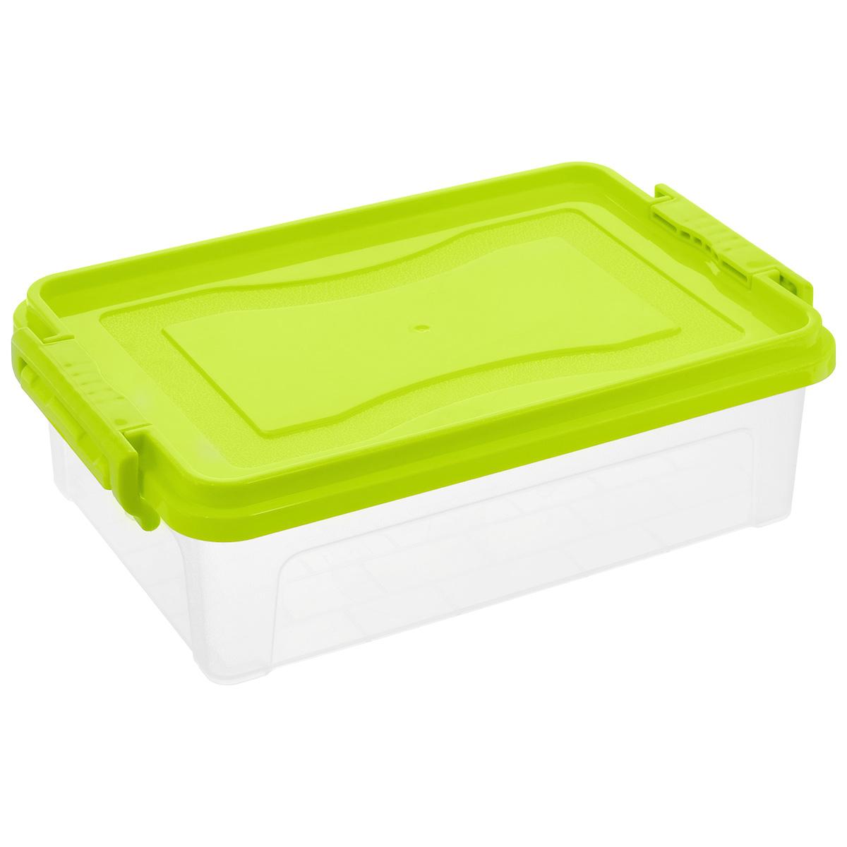 Контейнер для хранения Idea, прямоугольный, цвет: прозрачный, салатовый, 3,6 лМ 2860Контейнер для хранения Idea выполнен из высококачественного пластика. Контейнер снабжен двумя пластиковыми фиксаторами по бокам, придающими дополнительную надежность закрывания крышки. Вместительный контейнер позволит сохранить различные нужные вещи в порядке, а герметичная крышка предотвратит случайное открывание, защитит содержимое от пыли и грязи.