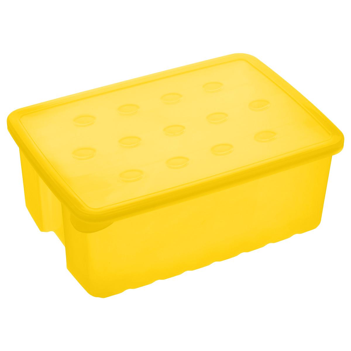 Контейнер для карандашей Альтернатива, цвет: желтый, 22 см х 15,5 см х 8,5 смМ1850Контейнер Альтернатива изготовлен из высококачественного цветного пластика и плотно закрывается крышкой. Контейнер очень вместителен и поможет вам хранить все необходимые мелочи, например, ручки, фломастеры, карандаши и другое, в одном месте.