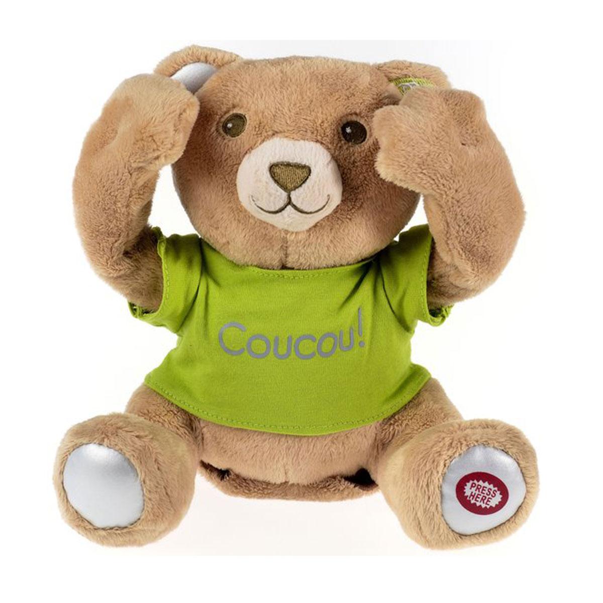 PiouPiou Merveilles Мягкая игрушка Мишка, 22 смCoucouBBИнтерактивная игрушка PiouPiou Merveilles выполнена в виде очень милого медвежонка. Такая игрушка приведет в восторг любого ребенка. Очаровательный медвежонок покрыт мягким и приятным на ощупь искусственным мехом, глазки и носик вышиты нитками. Игрушка одета в футболку салатового цвета. При нажатии на левую пятку мишка открывает лапками глаза и начинает смеяться, играя с ребенком в прятки. Игры с интерактивным мишкой способствуют эмоциональному развитию ребенка, а также помогут ему развить ответственность, внимание и воображение. Замечательный медвежонок непременно станет лучшим другом малыша. Для работы необходимы 2 батарейки напряжением 1,5V типа AA (входят в комплект).